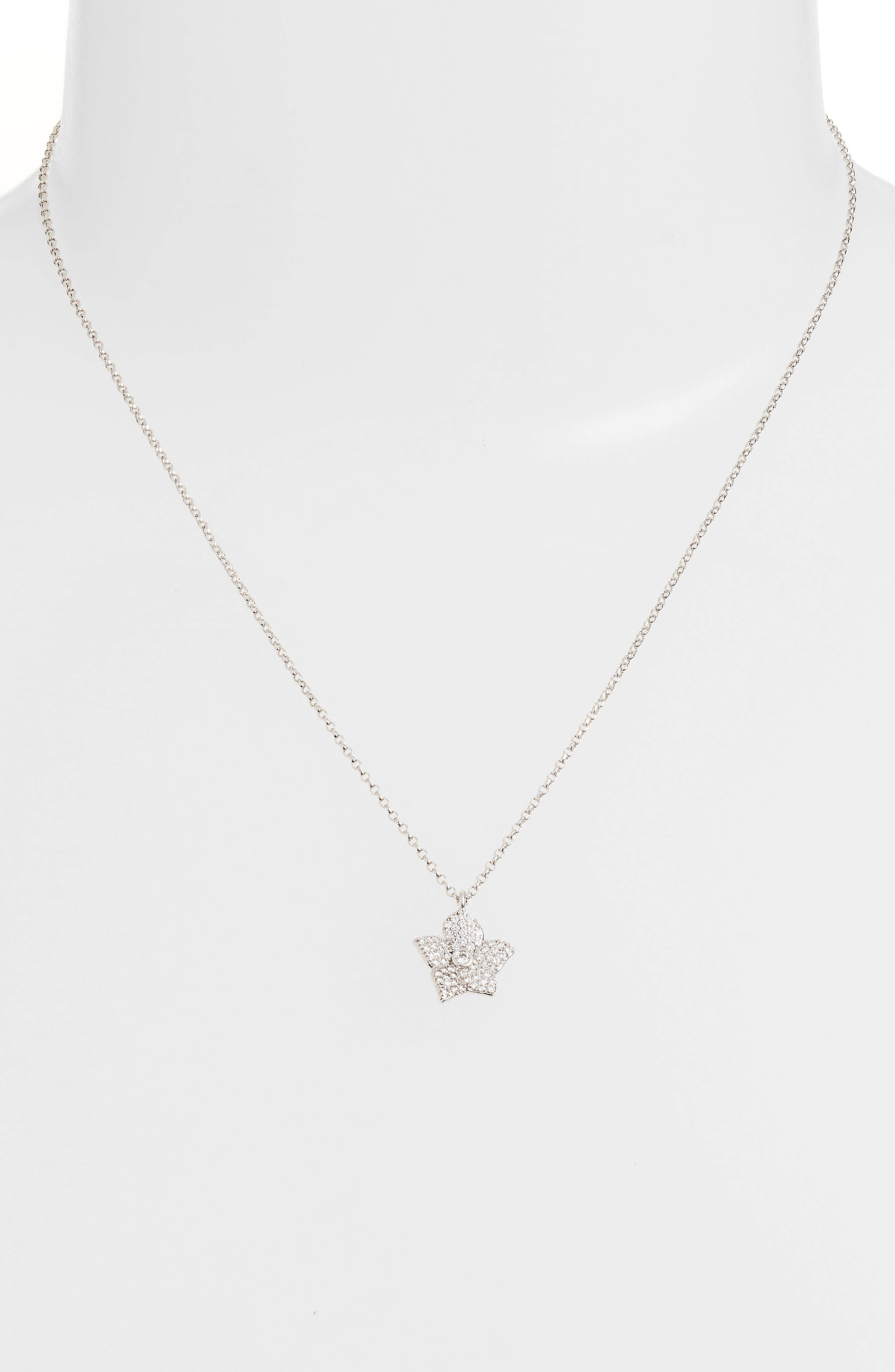 blooming pavé mini pendant necklace,                             Alternate thumbnail 2, color,                             041