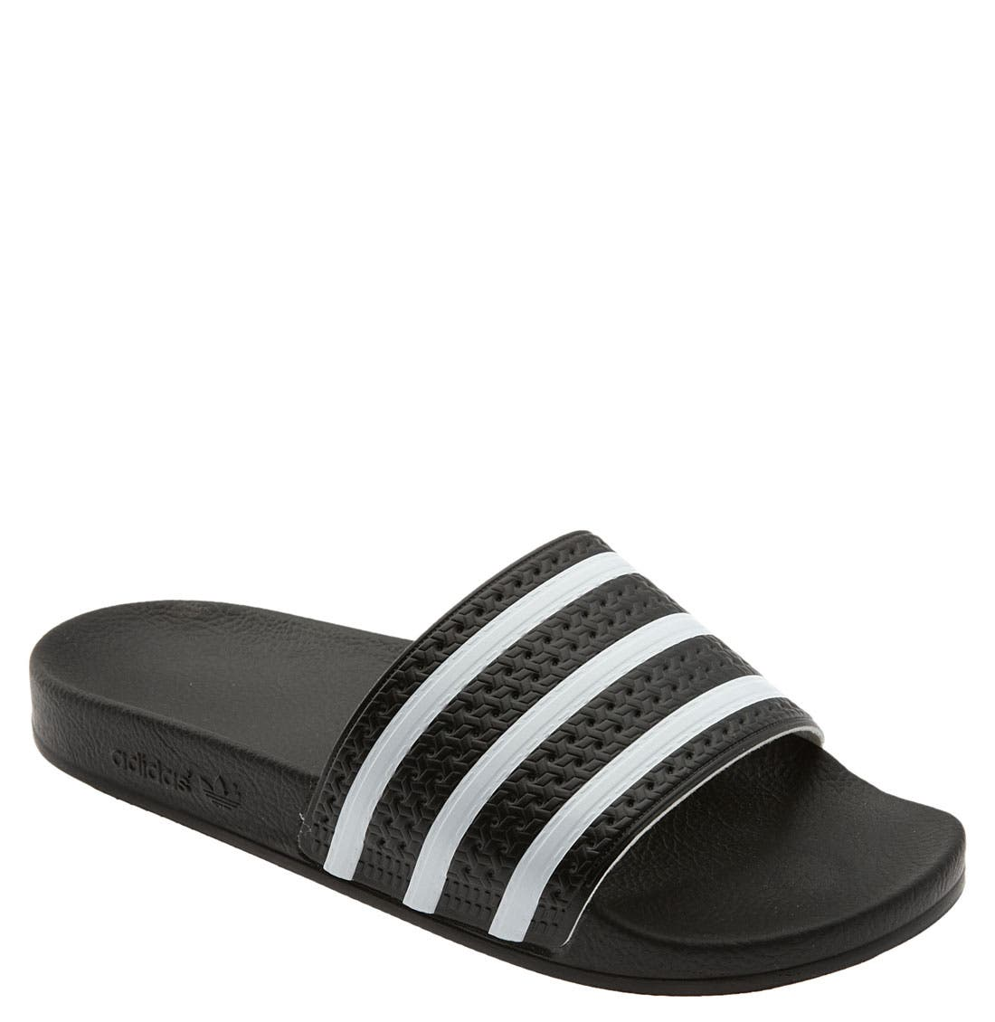 'Adilette' Slide Sandal,                         Main,                         color, BLACK/ WHITE/ BLACK