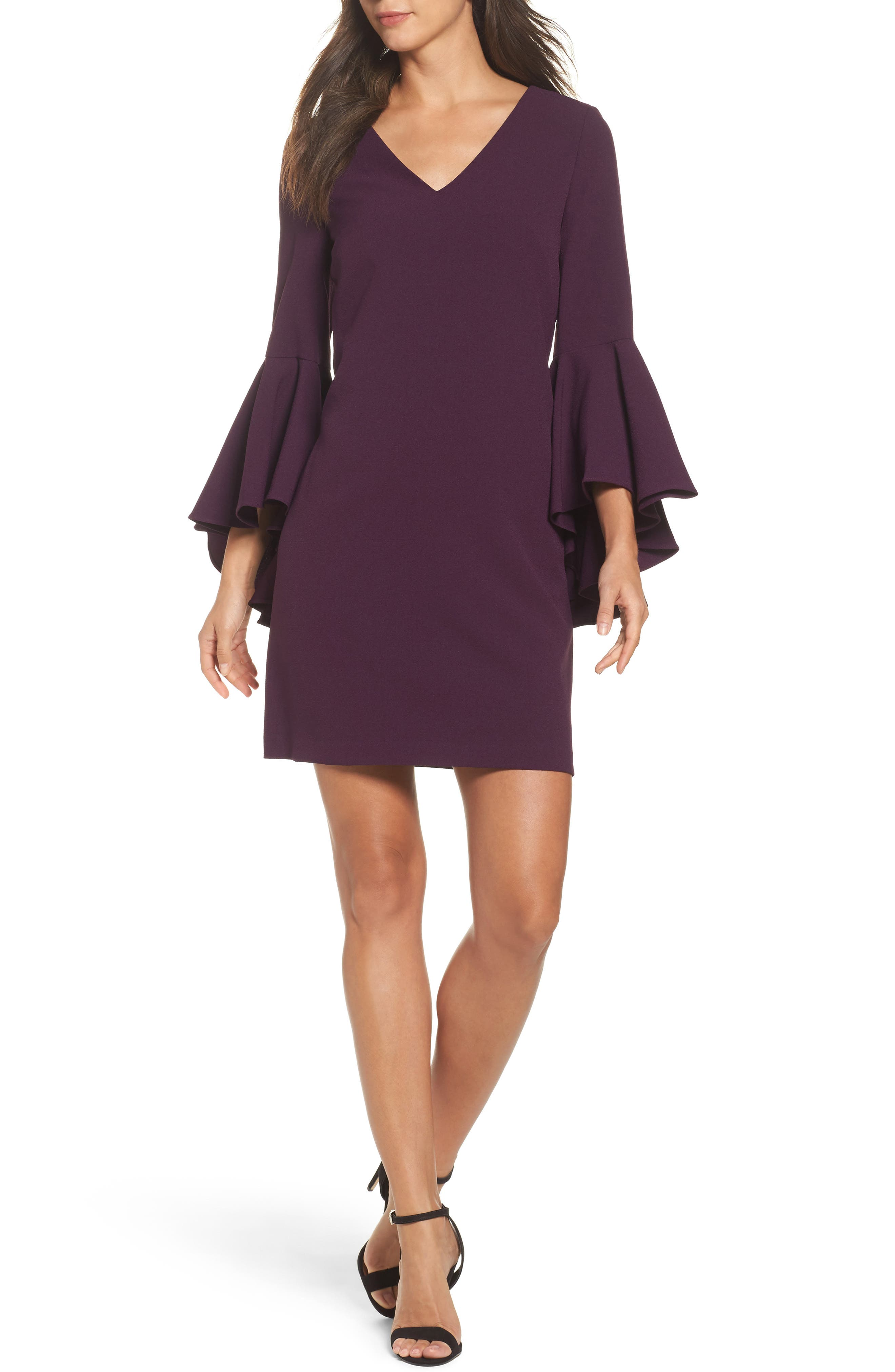 Bell Sleeve Crepe Shift Dress,                             Main thumbnail 2, color,