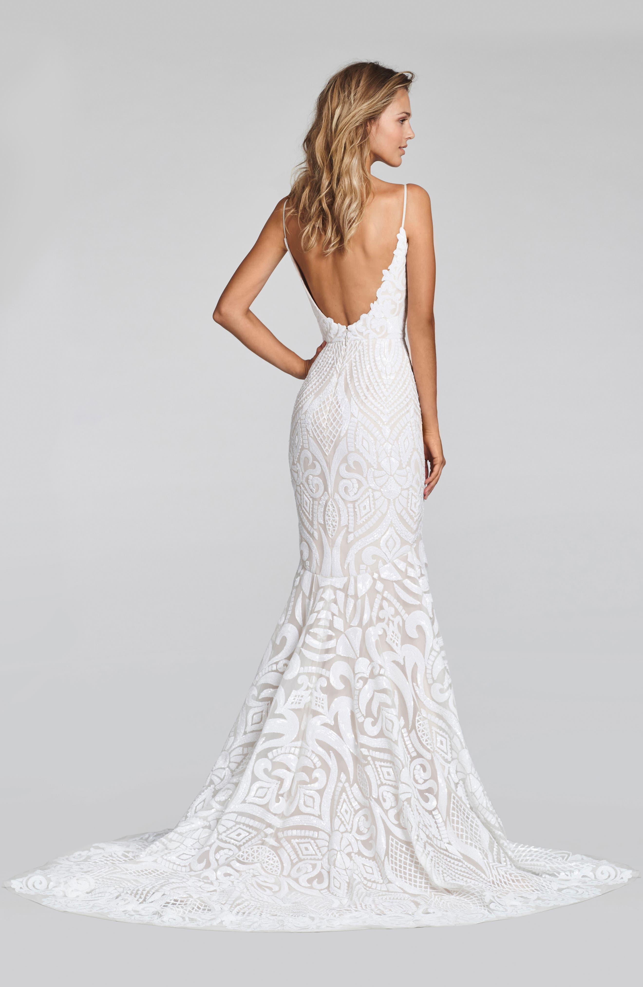 West Embellished Trumpet Gown,                             Alternate thumbnail 2, color,                             IVORY
