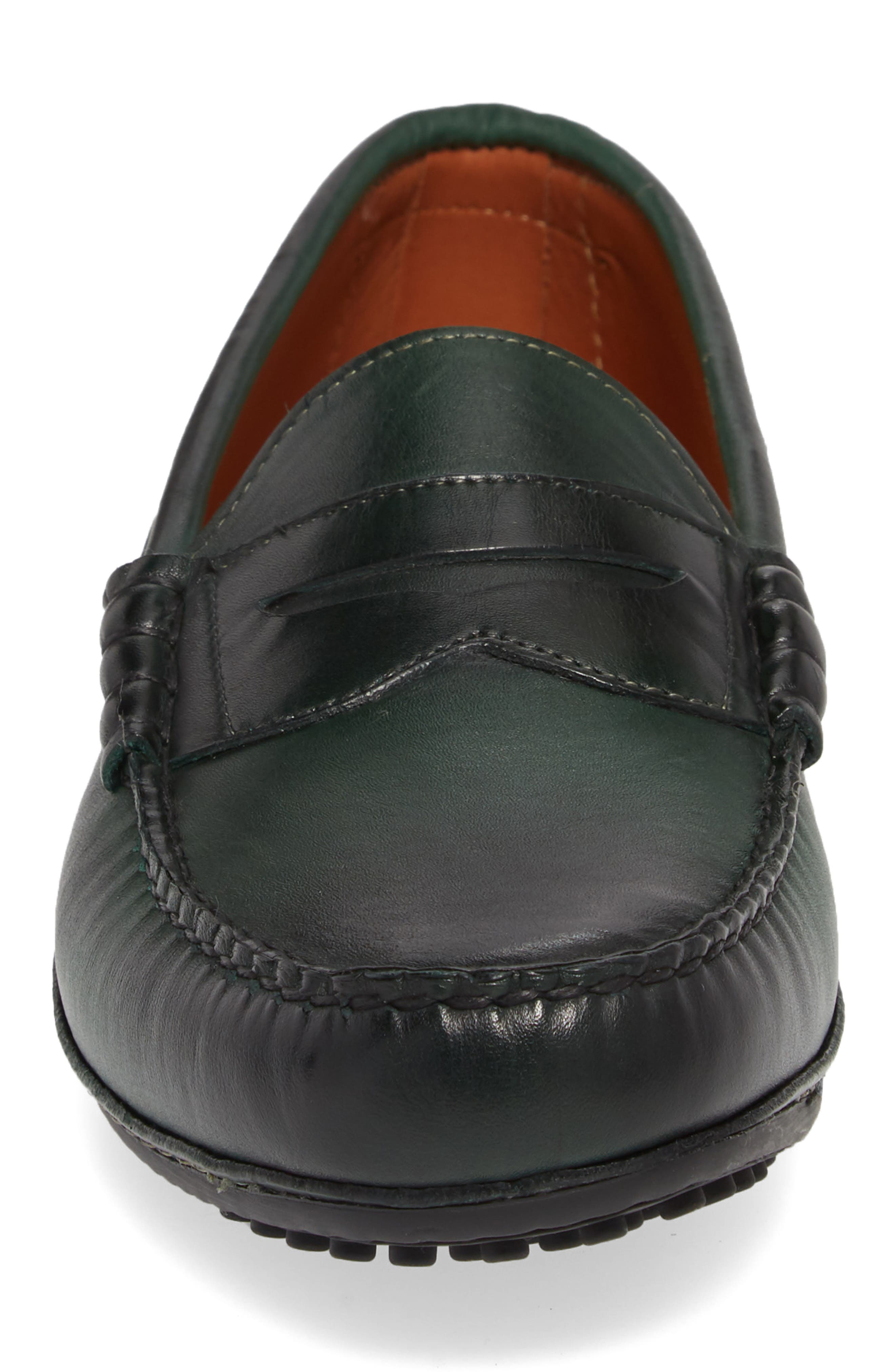 Siesta Key Penny Loafer,                             Alternate thumbnail 4, color,                             GREEN LEATHER