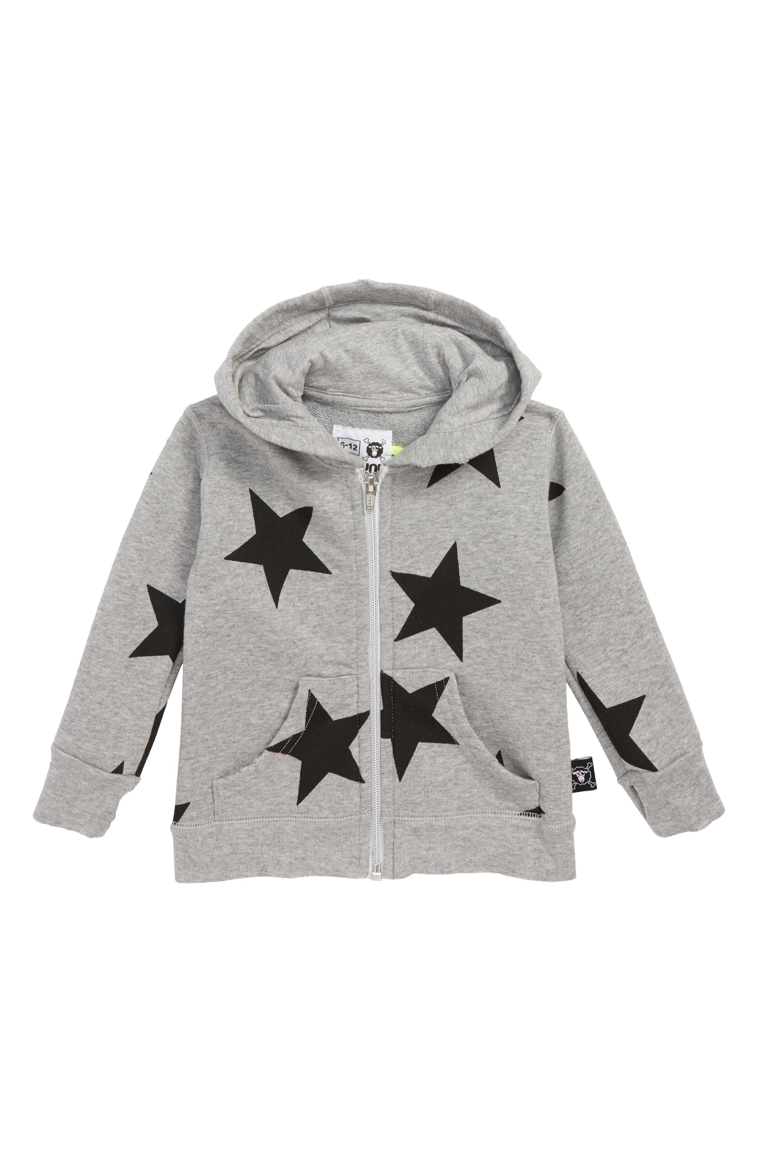 Star Zip Hoodie,                         Main,                         color, HEATHER GREY