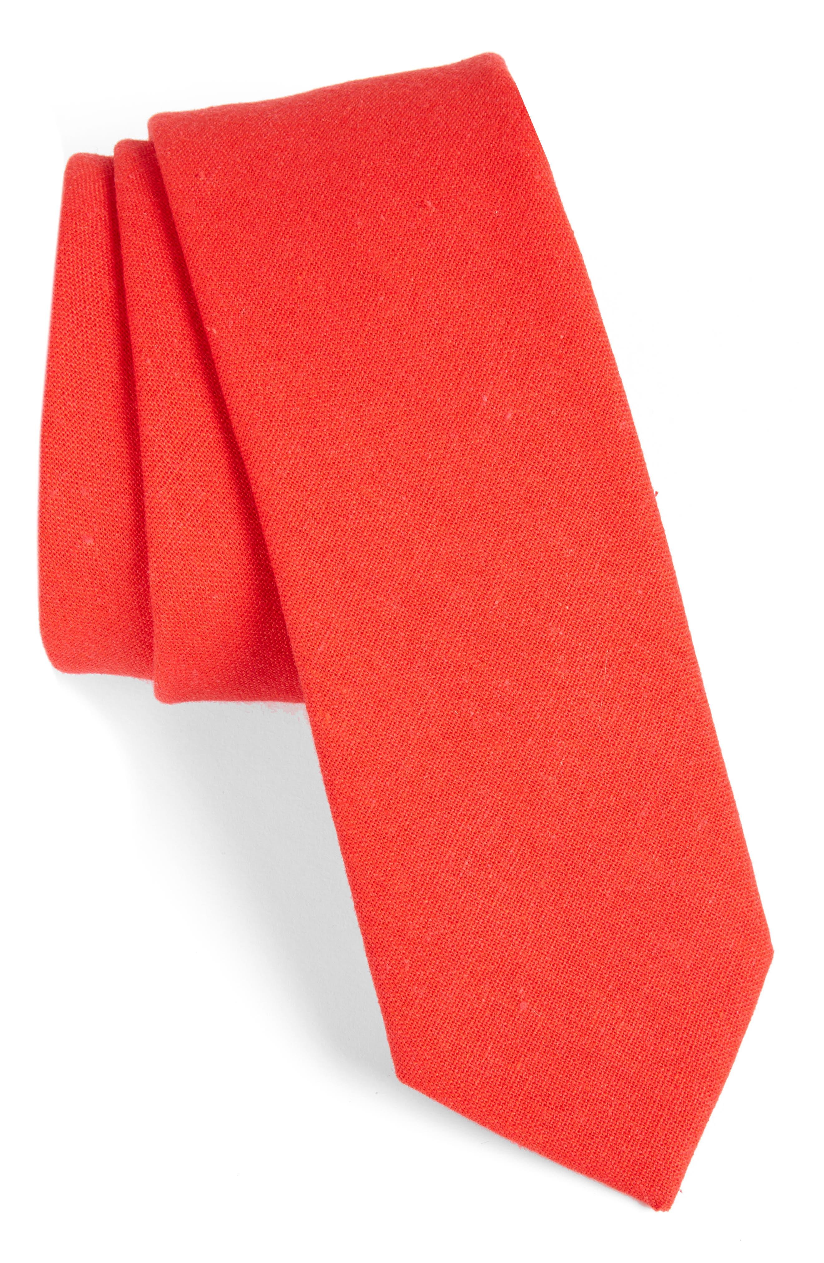 Solid Linen & Cotton Tie,                         Main,                         color, RED