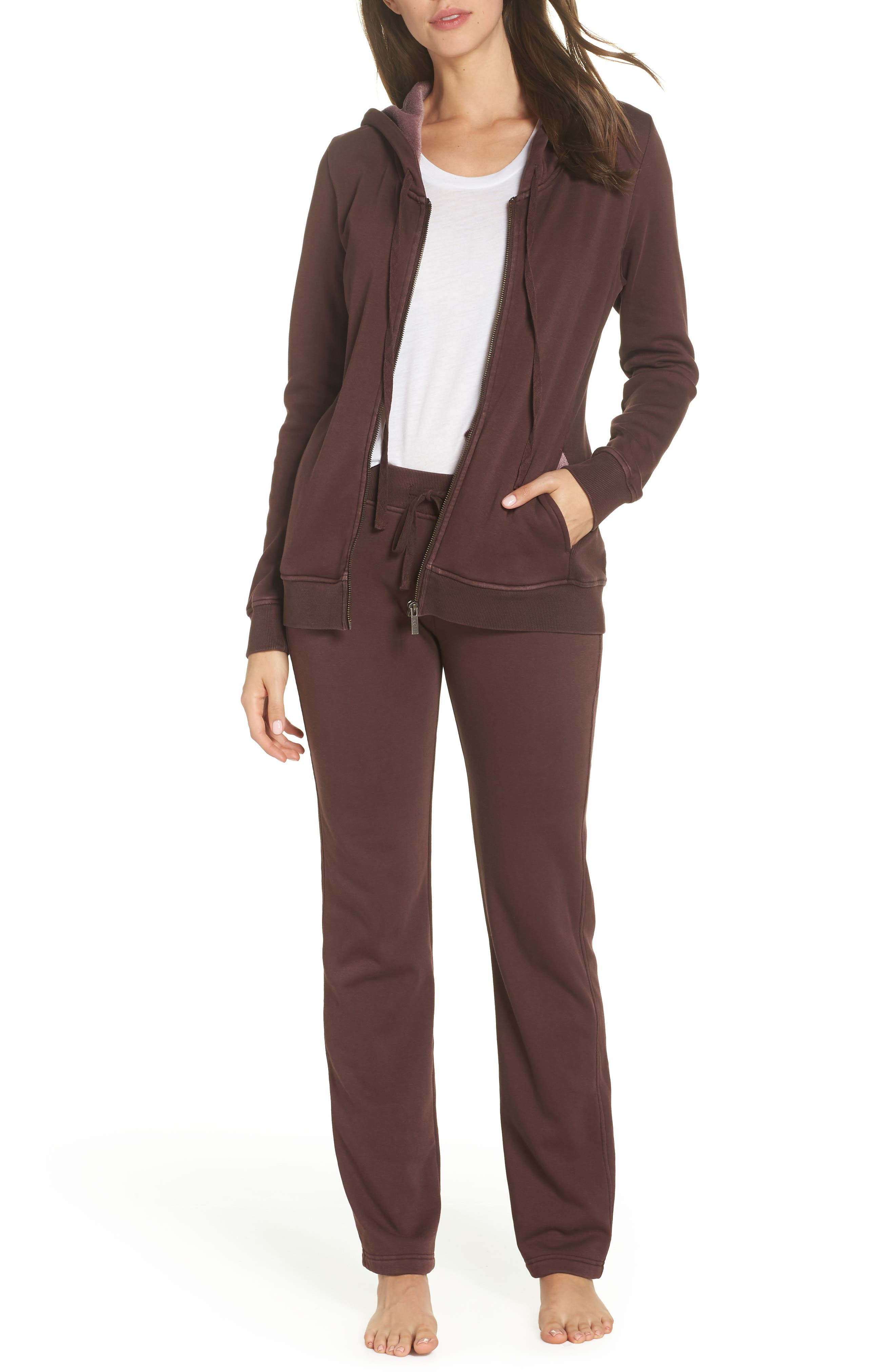 Penny Washed Lounge Pants,                             Alternate thumbnail 7, color,                             PORT
