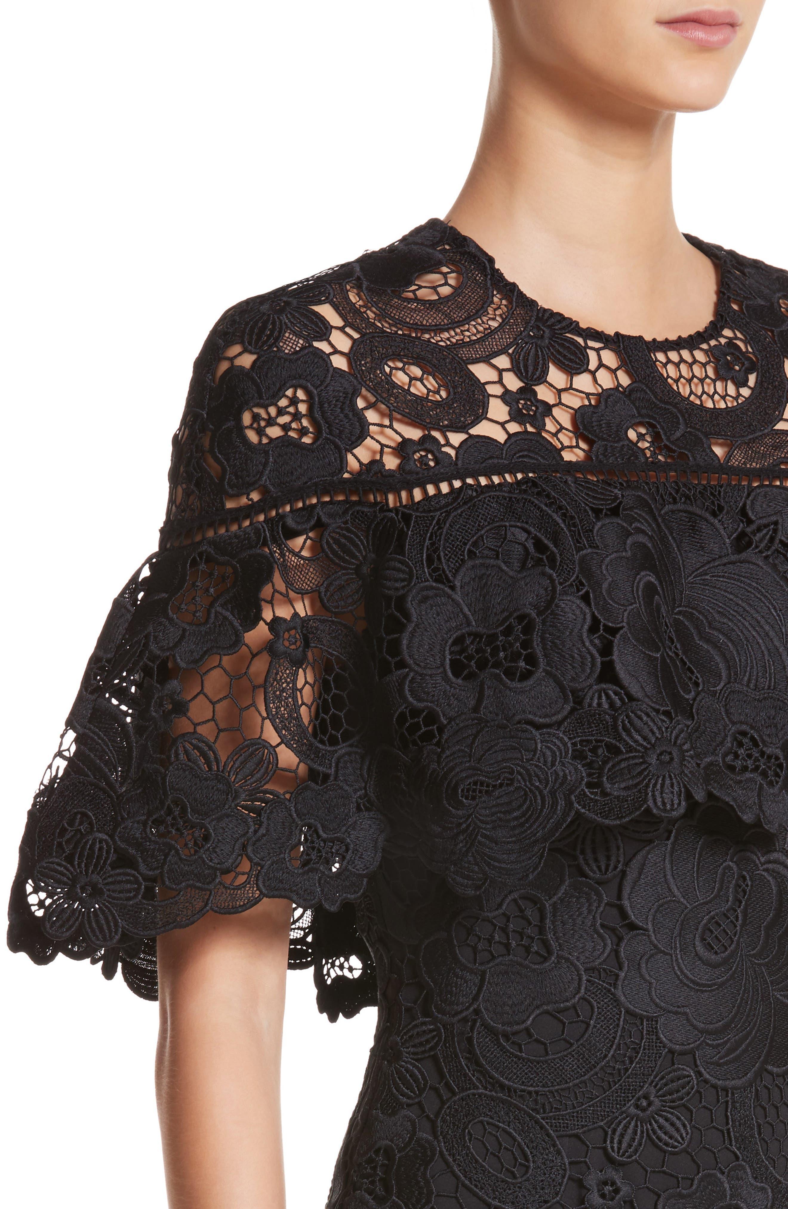 Lace Capelet Sheath Dress,                             Alternate thumbnail 4, color,                             001