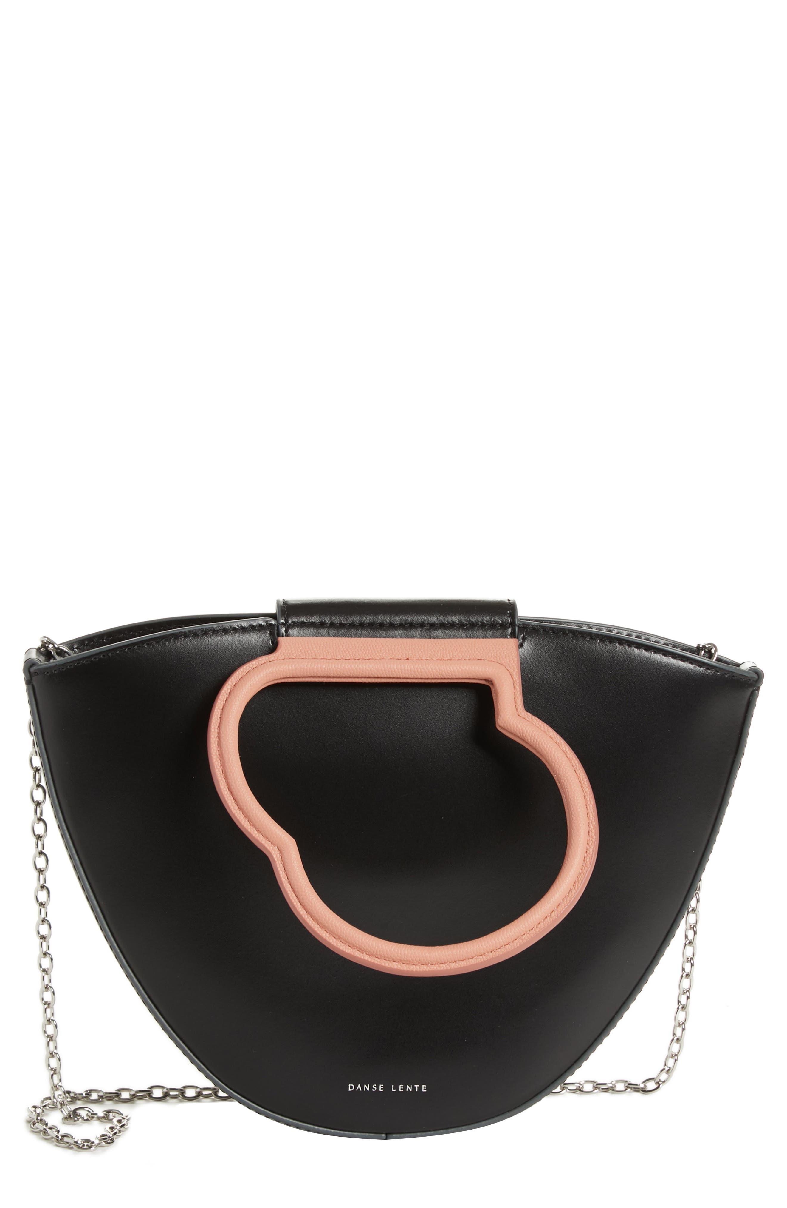 Lilou Leather Tote,                         Main,                         color, BLACK/ BLUSH