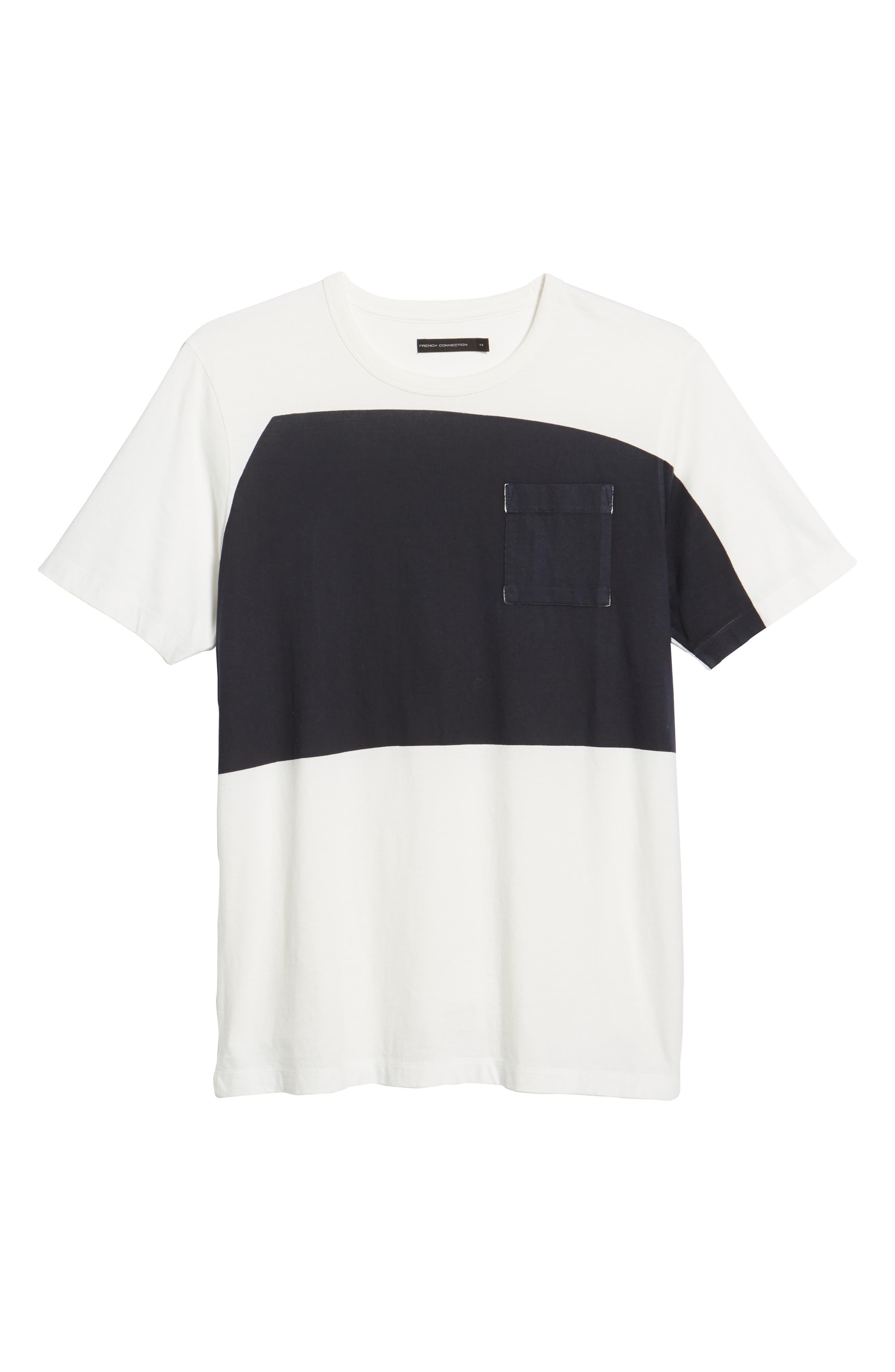 Asymmetrical Colorblock Pocket T-Shirt,                             Alternate thumbnail 6, color,                             CUBA WHITE UTILITY BLUE