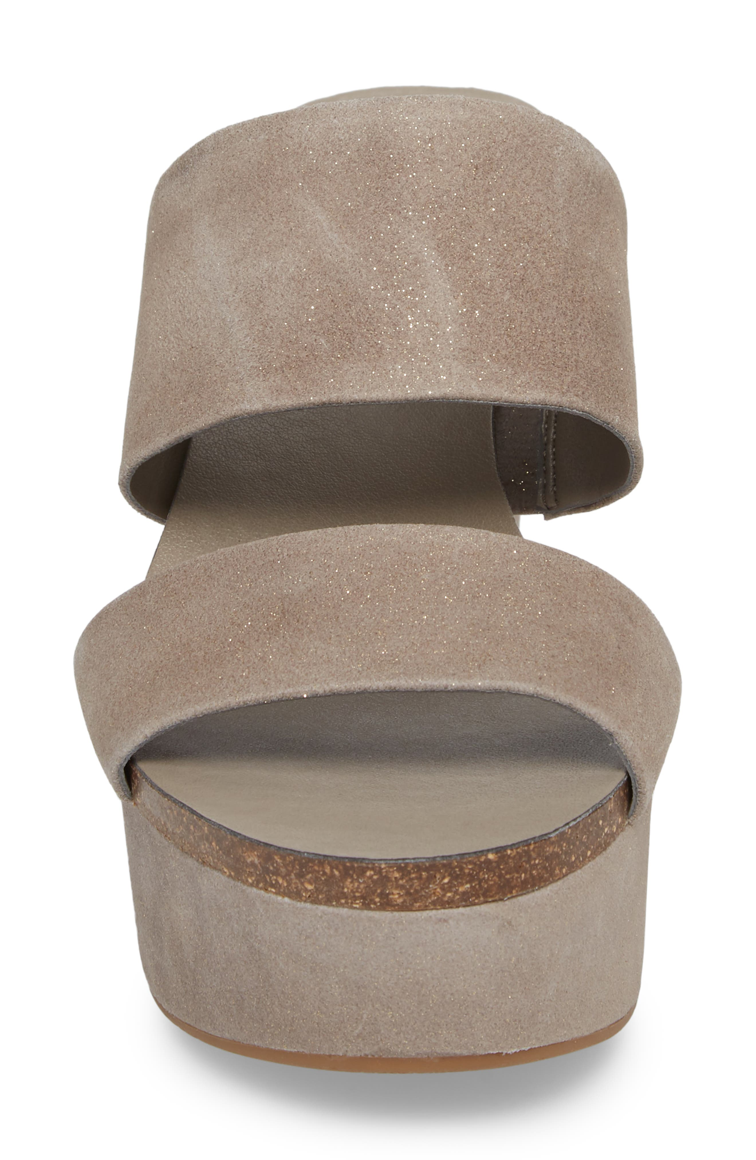 Varenia Platform Wedge Sandal,                             Alternate thumbnail 4, color,                             SILVER GREY FABRIC
