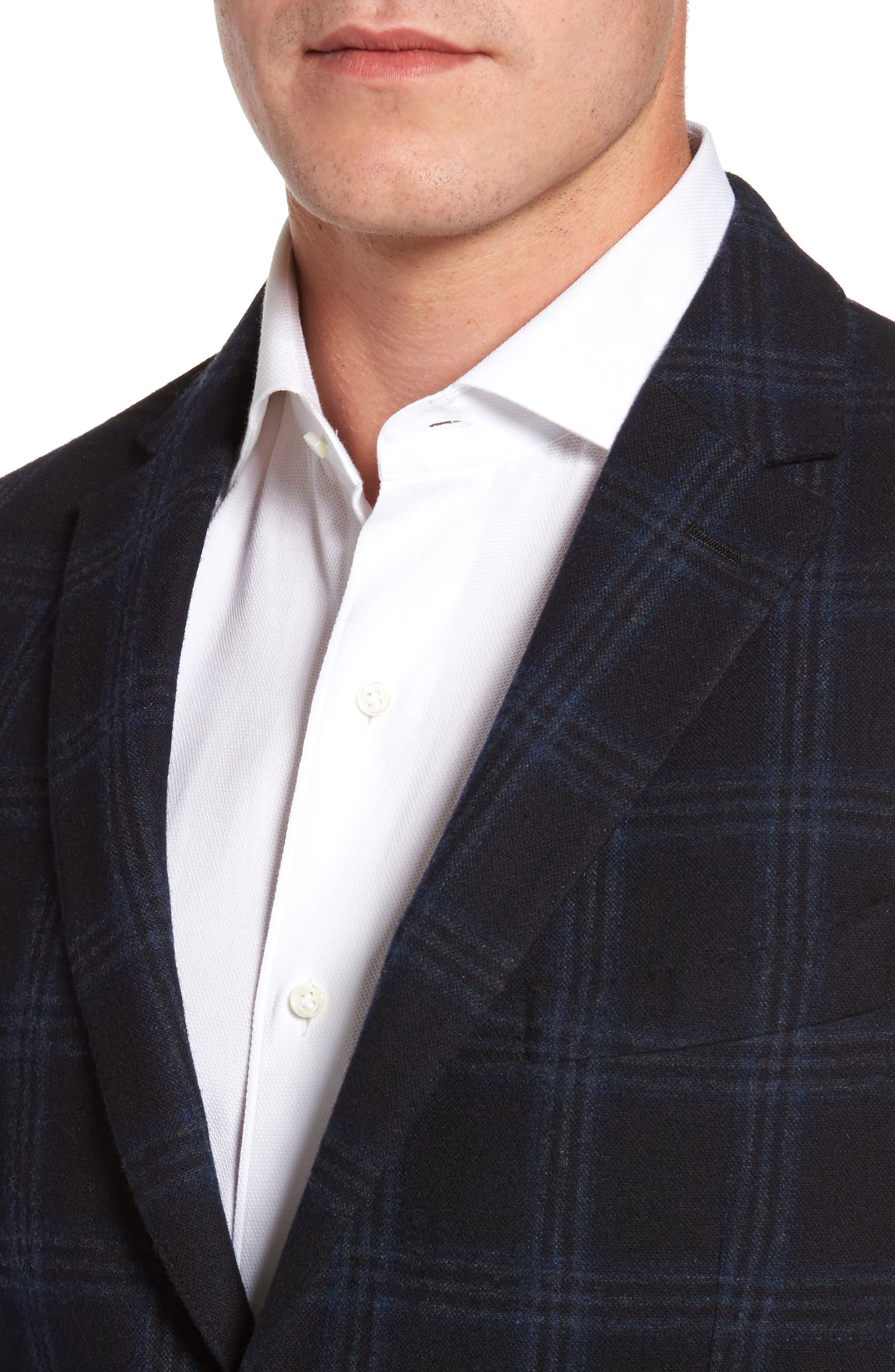 Classic Fit Windowpane Wool & Cashmere Jersey Sport Coat,                             Alternate thumbnail 4, color,                             001