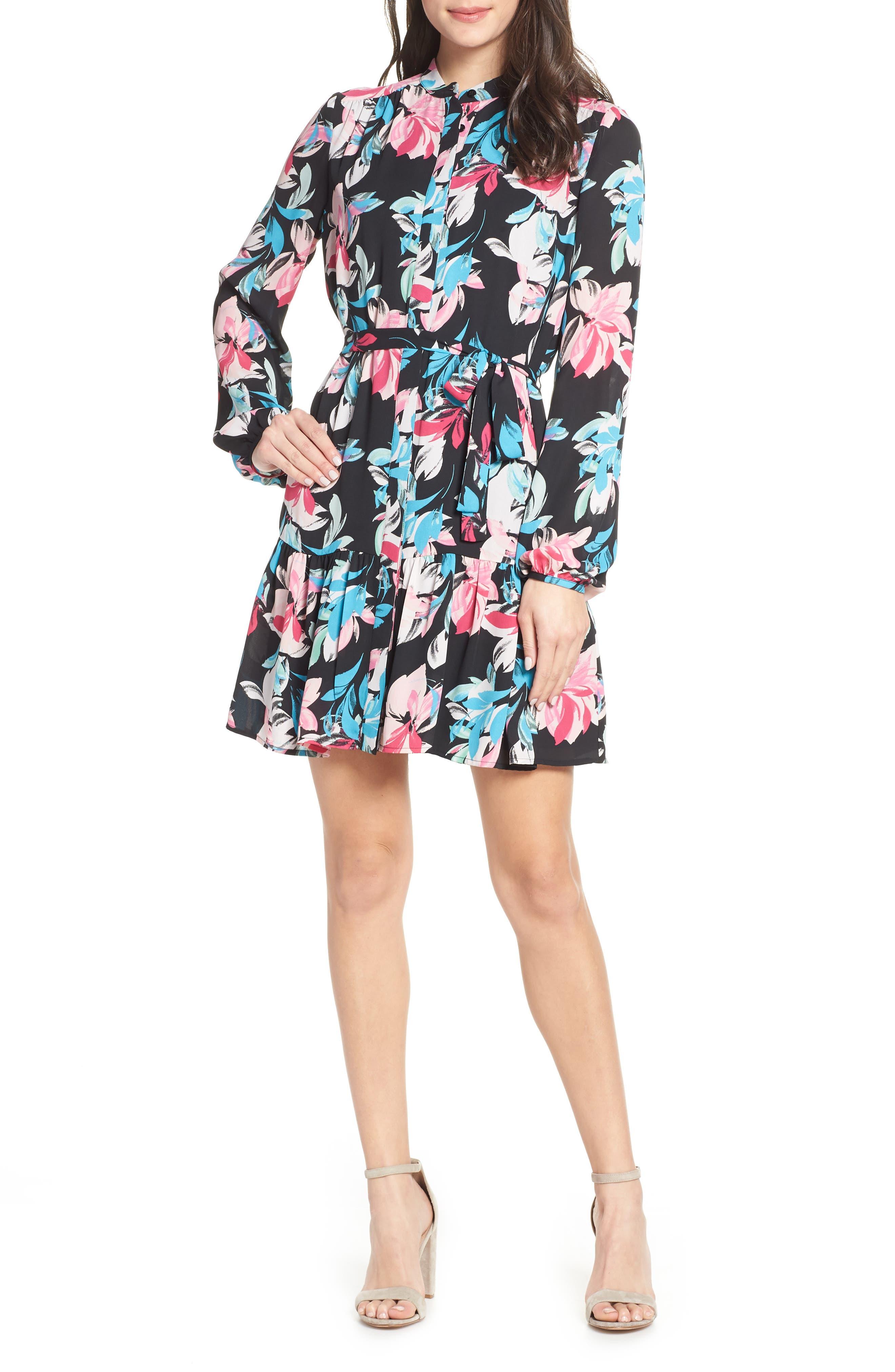 Ruffle Hem Henley Shirtdress, Main, color, BLACK FLORAL