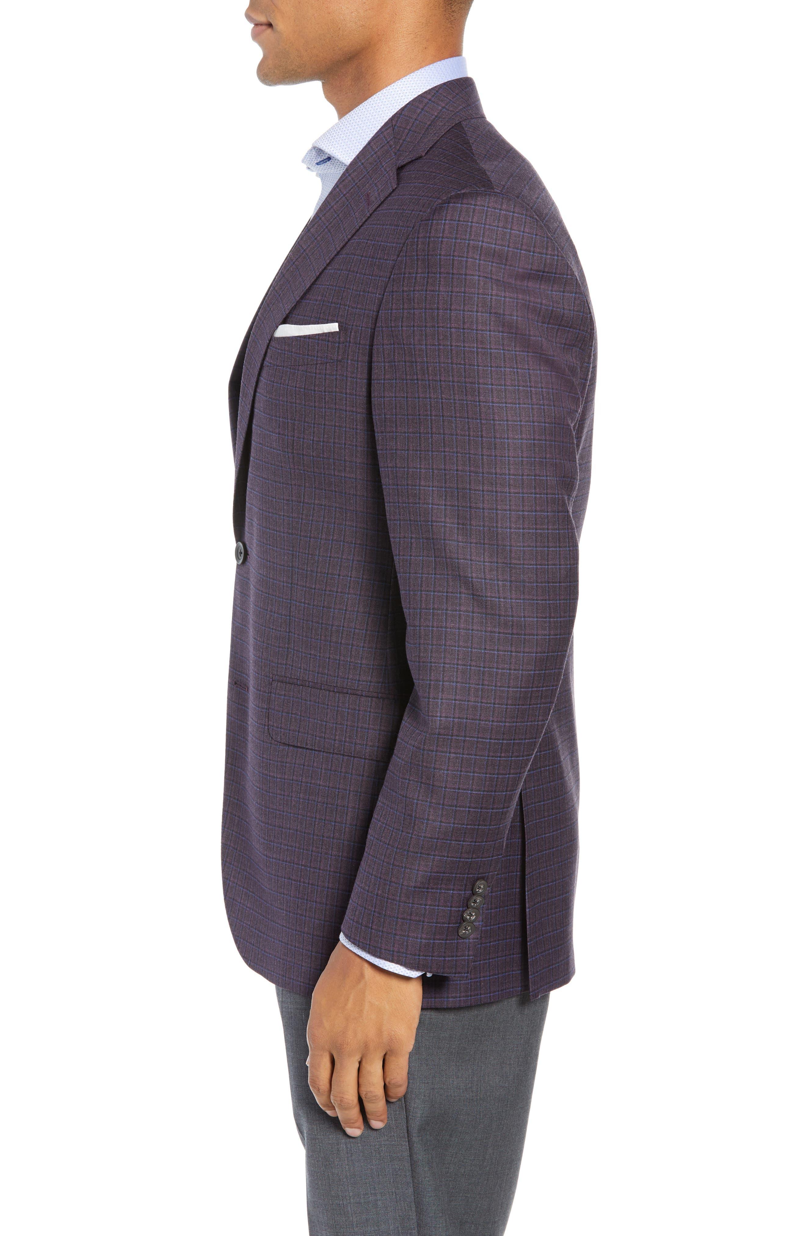 Connor Classic Fit Check Wool Sport Coat,                             Alternate thumbnail 3, color,                             BORDEAUX