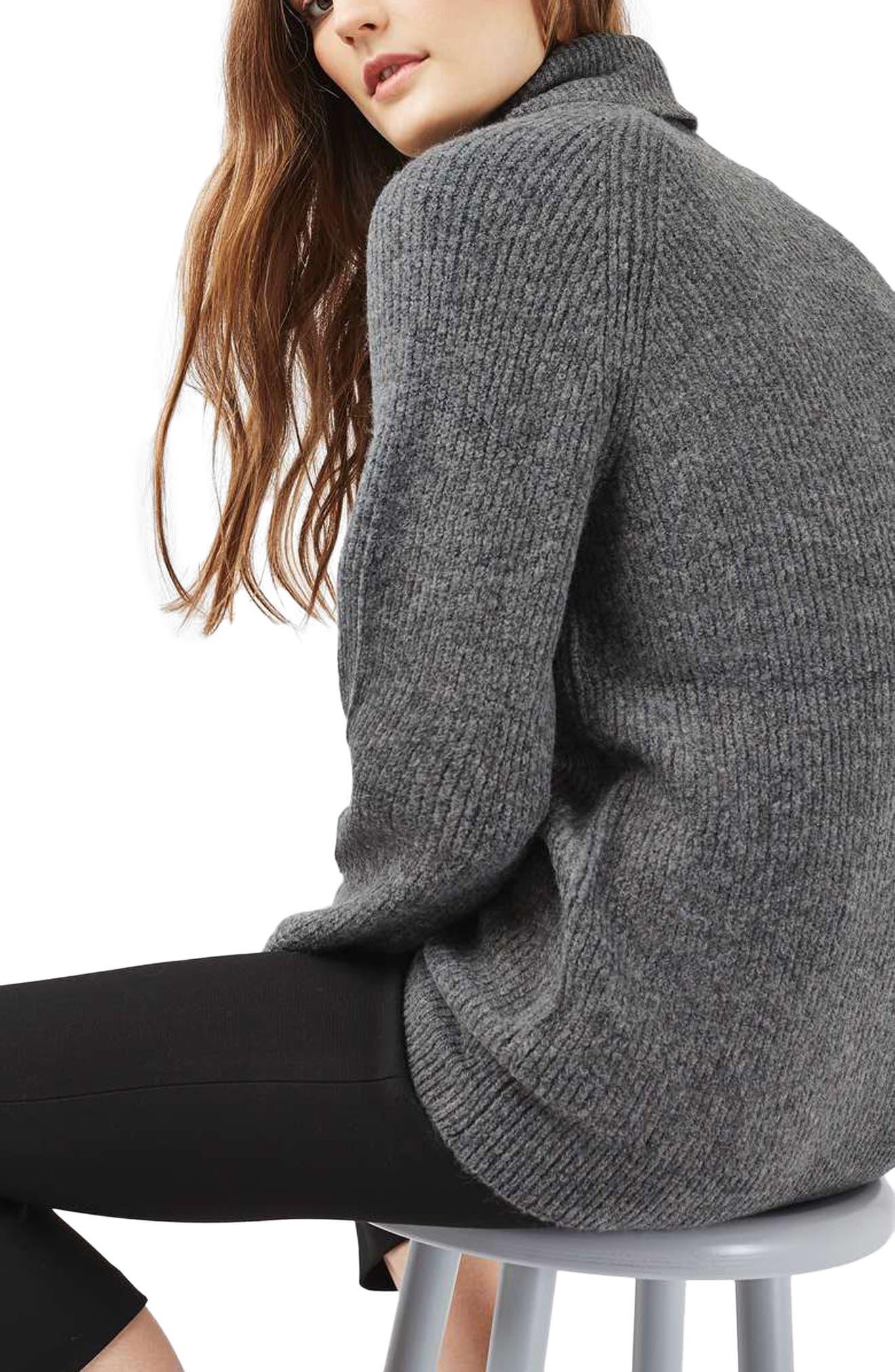 TOPSHOP,                             Oversize Turtleneck Sweater,                             Main thumbnail 1, color,                             021