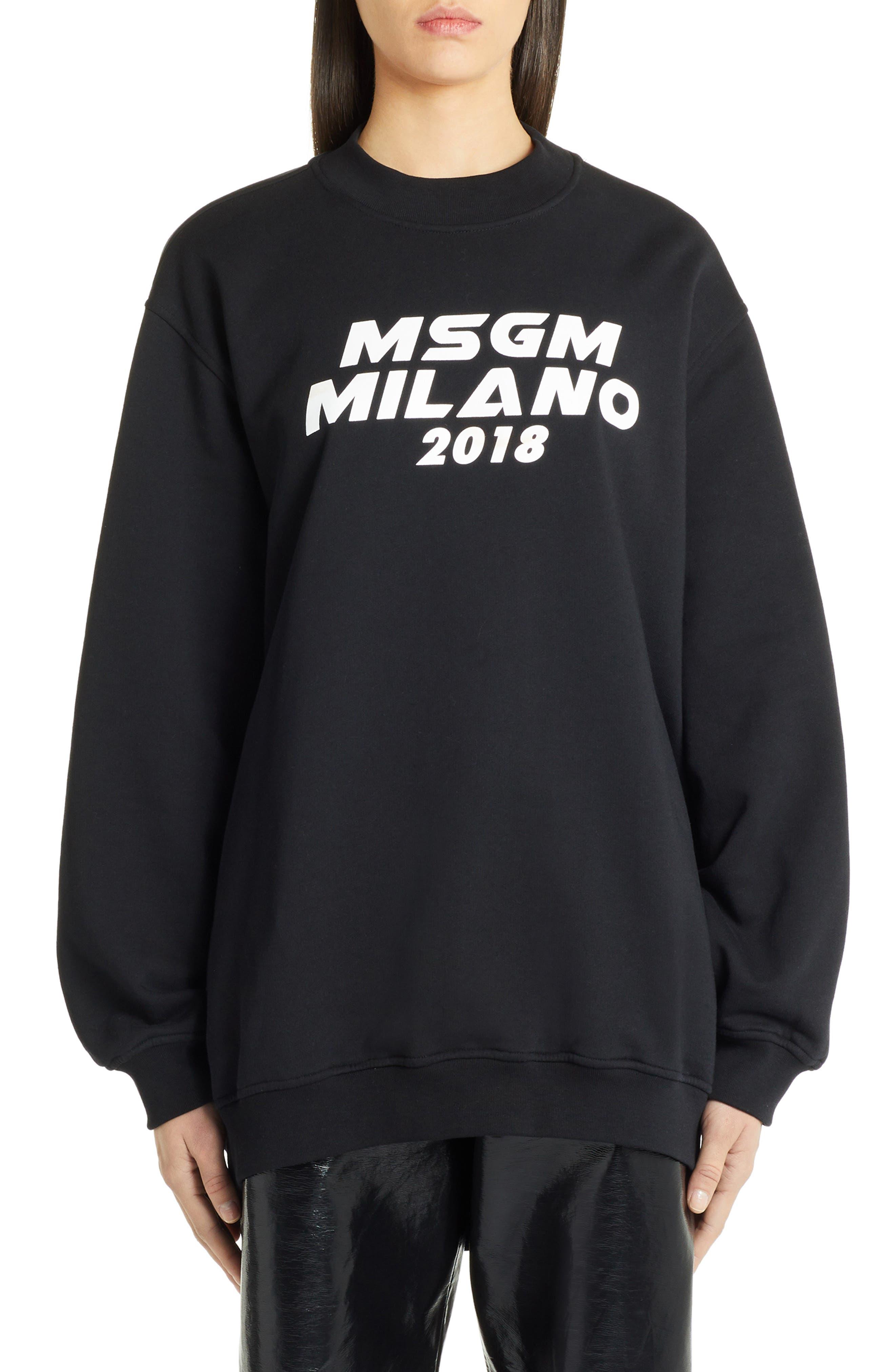 Msgm Cutout Logo Sweatshirt, Black