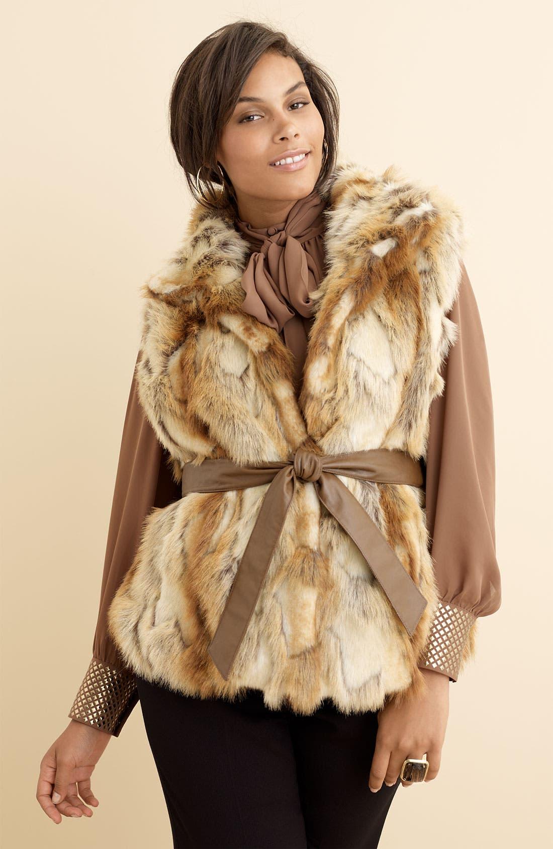 Belted Faux Fur Vest,                             Alternate thumbnail 2, color,                             250