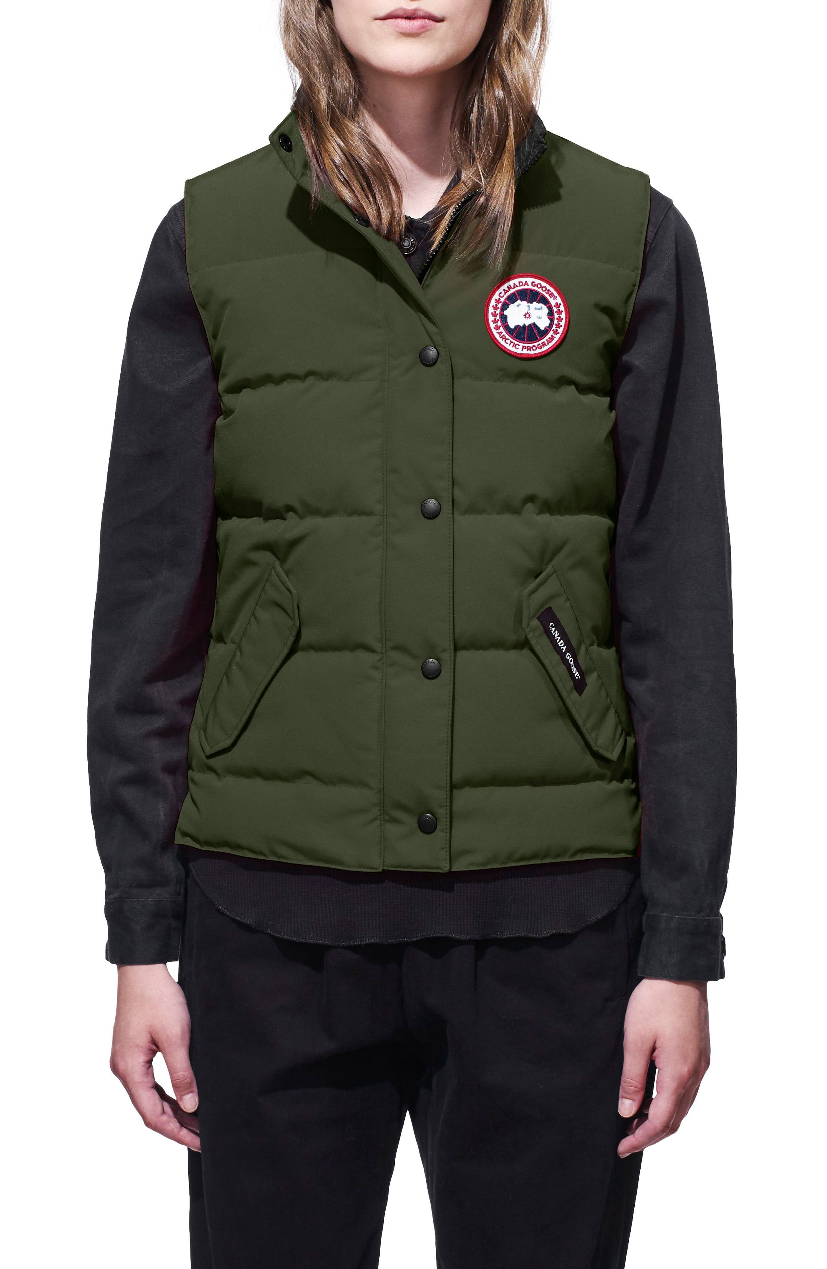'Freestyle' Slim Fit Down Vest,                             Main thumbnail 1, color,                             MILITARY GREEN