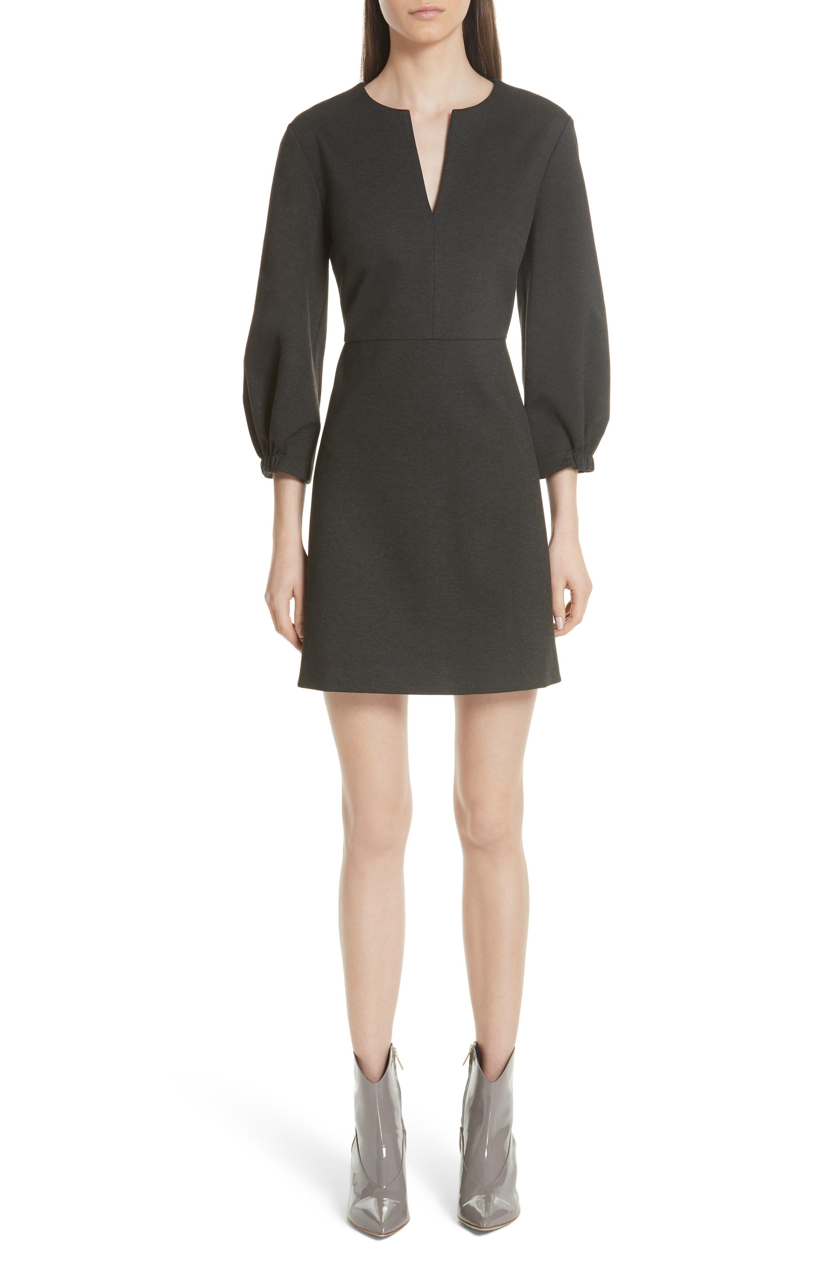 Tibi Bond Stretch Knit Puff Sleeve Dress, Grey