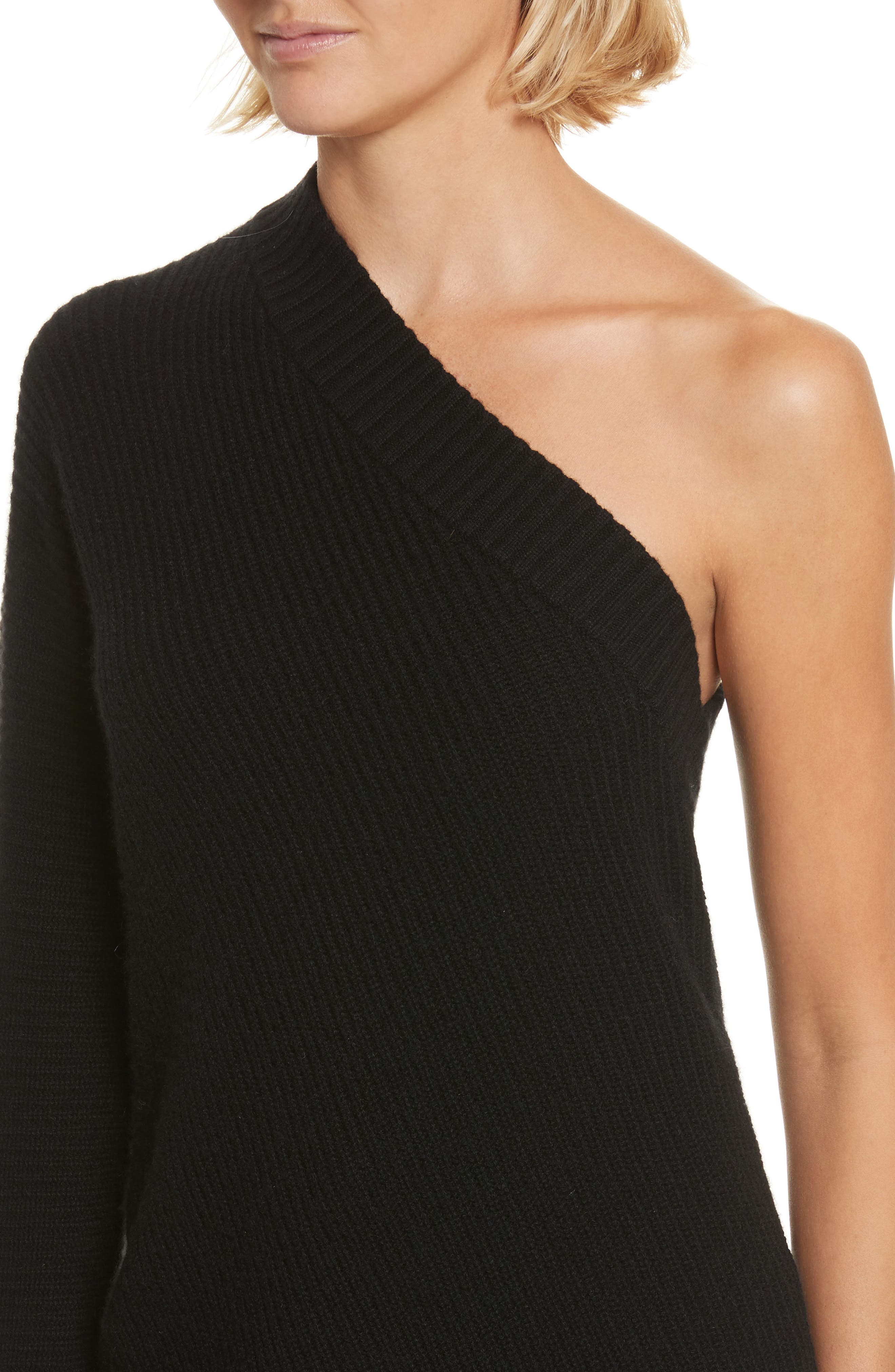 Tracey One Shoulder Wool & Cashmere Sweater,                             Alternate thumbnail 4, color,                             001
