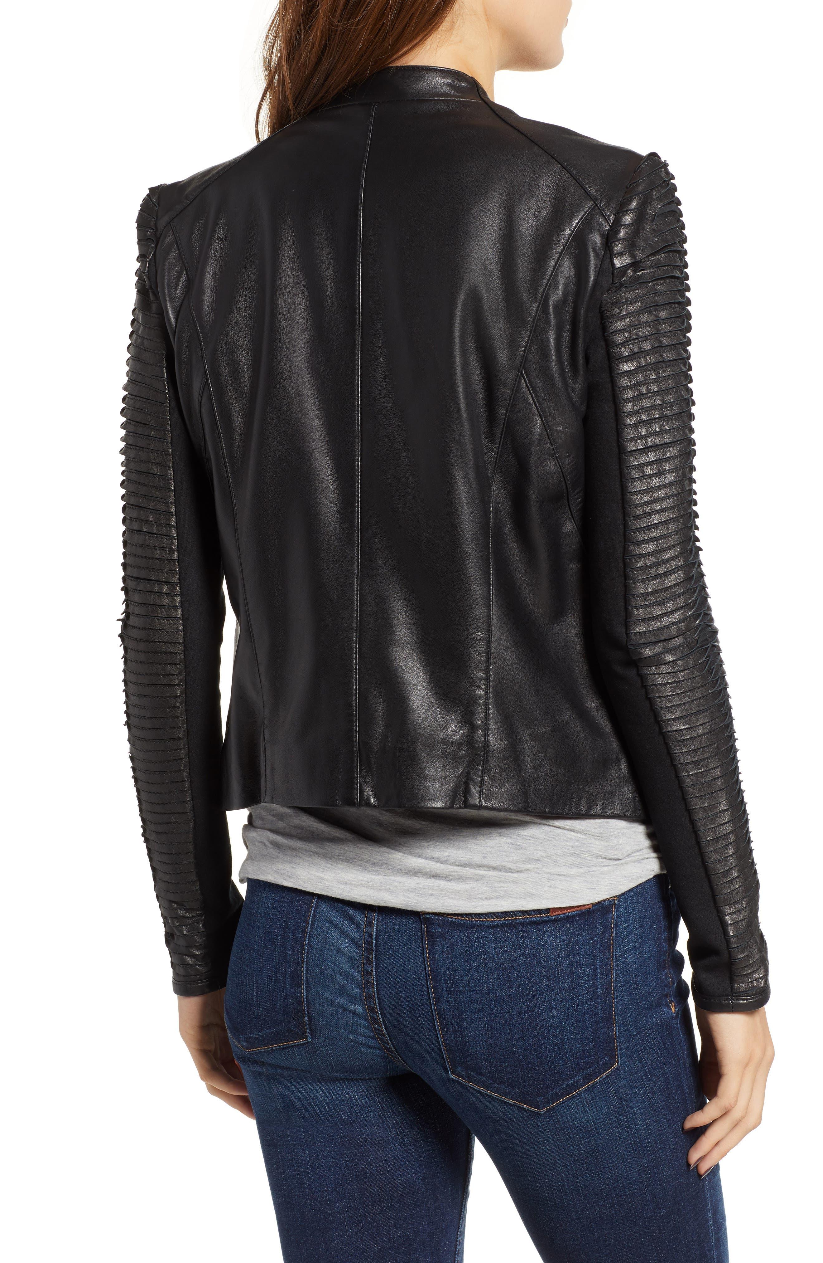Collarless Pleated Sleeve Leather Jacket,                             Alternate thumbnail 2, color,                             BLACK