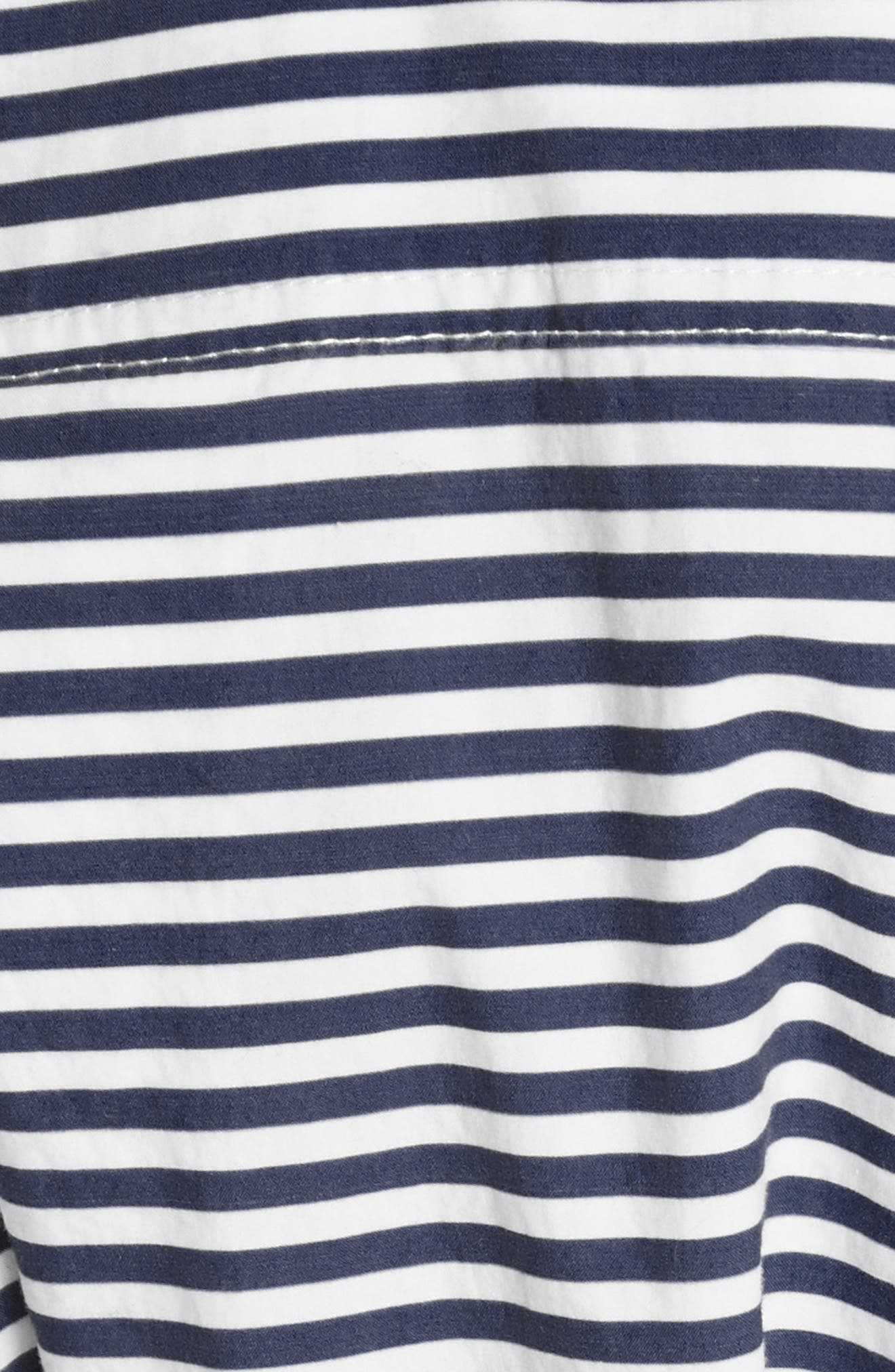 PSWL Logo Stripe Longline Poplin Shirt,                             Alternate thumbnail 6, color,                             469