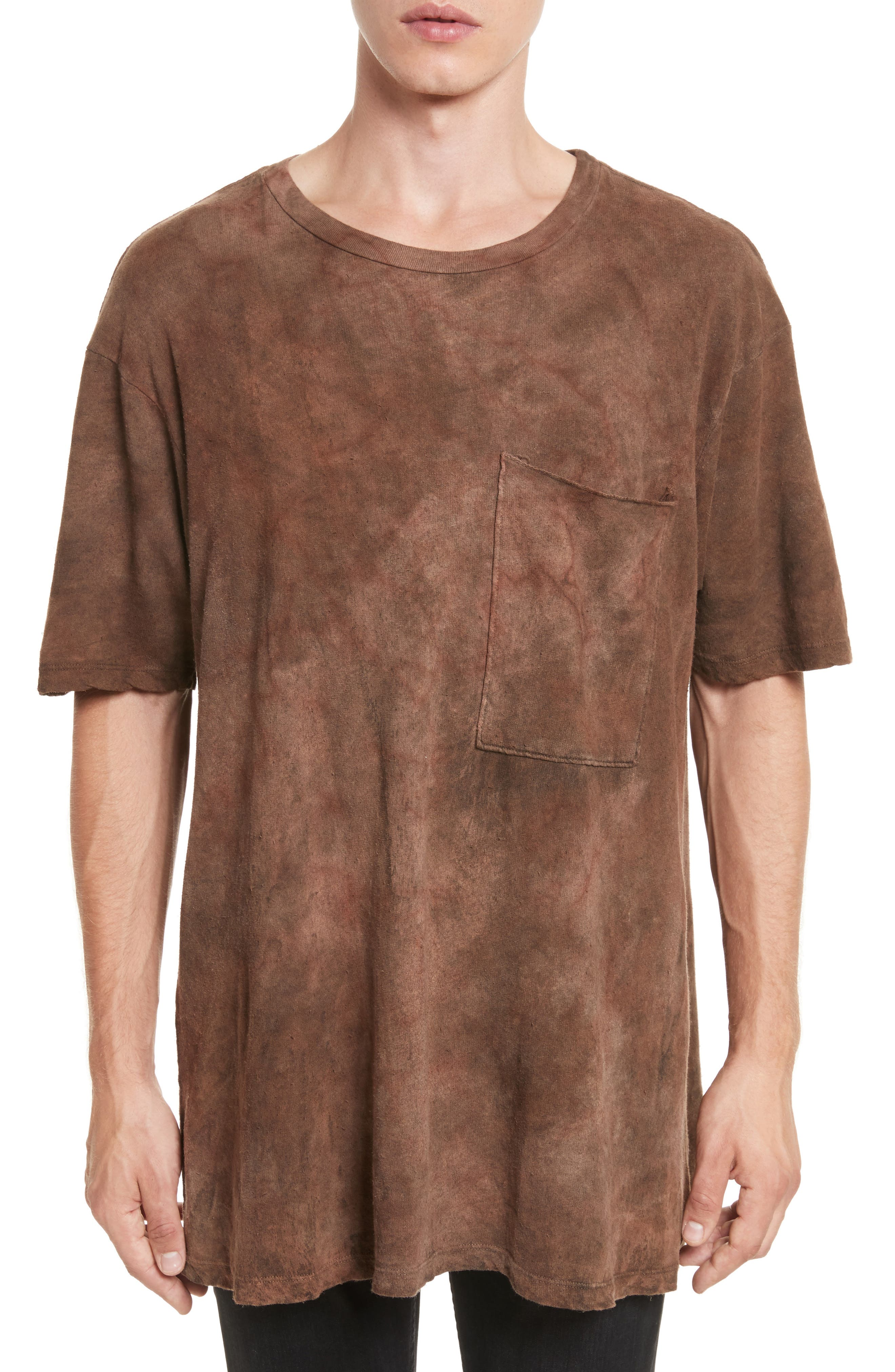 Granite Tie Dye Linen Blend T-Shirt,                         Main,                         color, 200