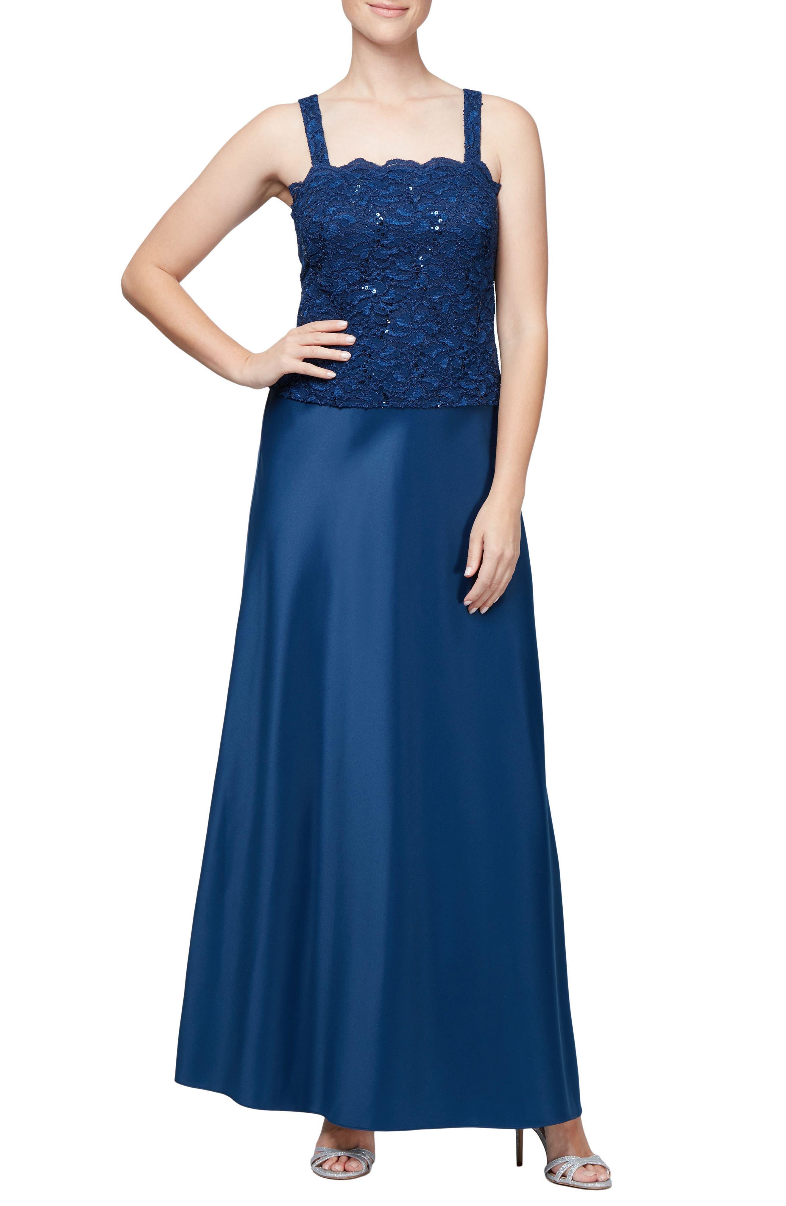 Sequin Lace Gown & Jacket,                             Alternate thumbnail 3, color,                             COBALT
