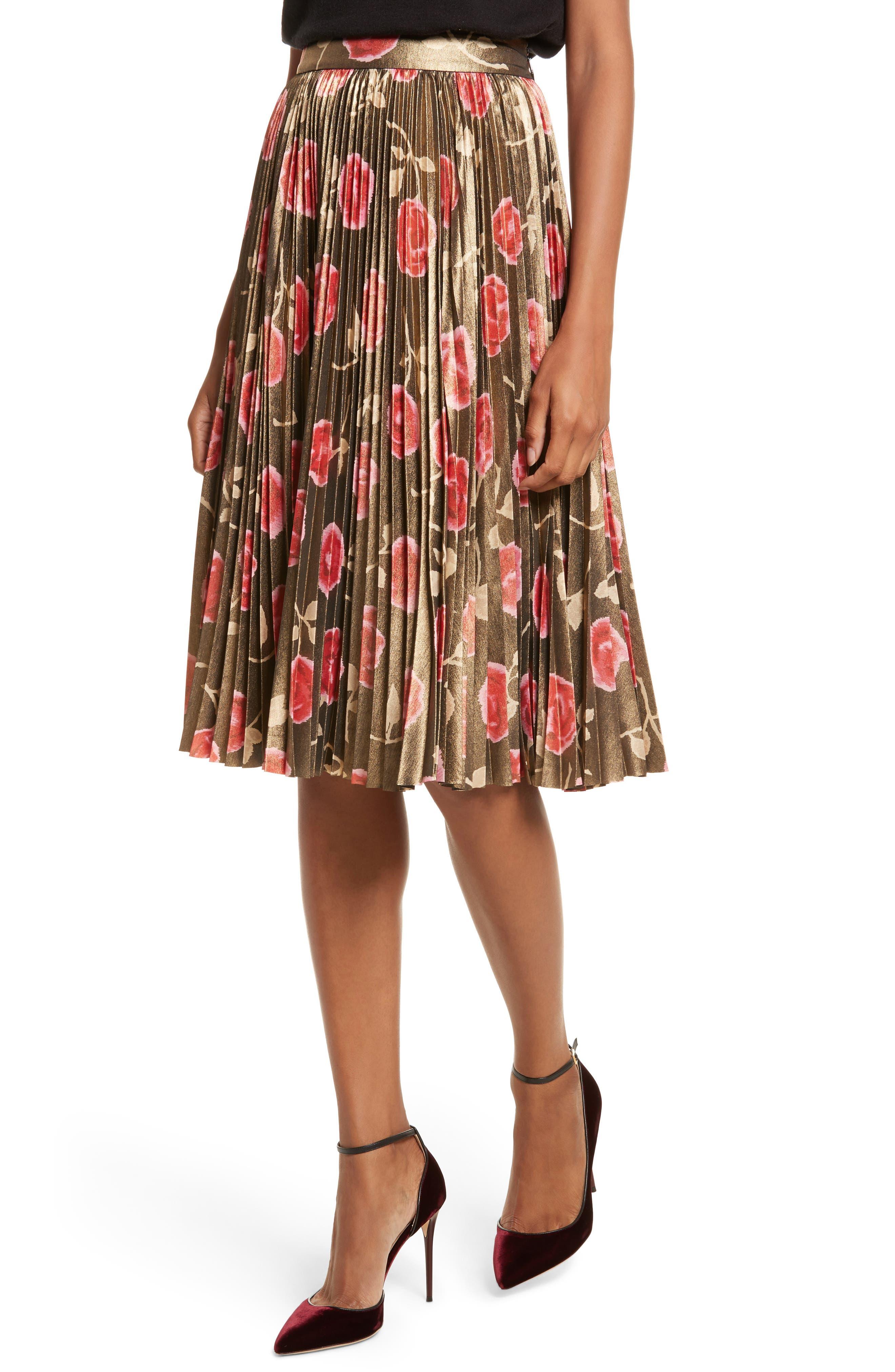 hazy rose pleated metallic skirt,                             Alternate thumbnail 4, color,                             006