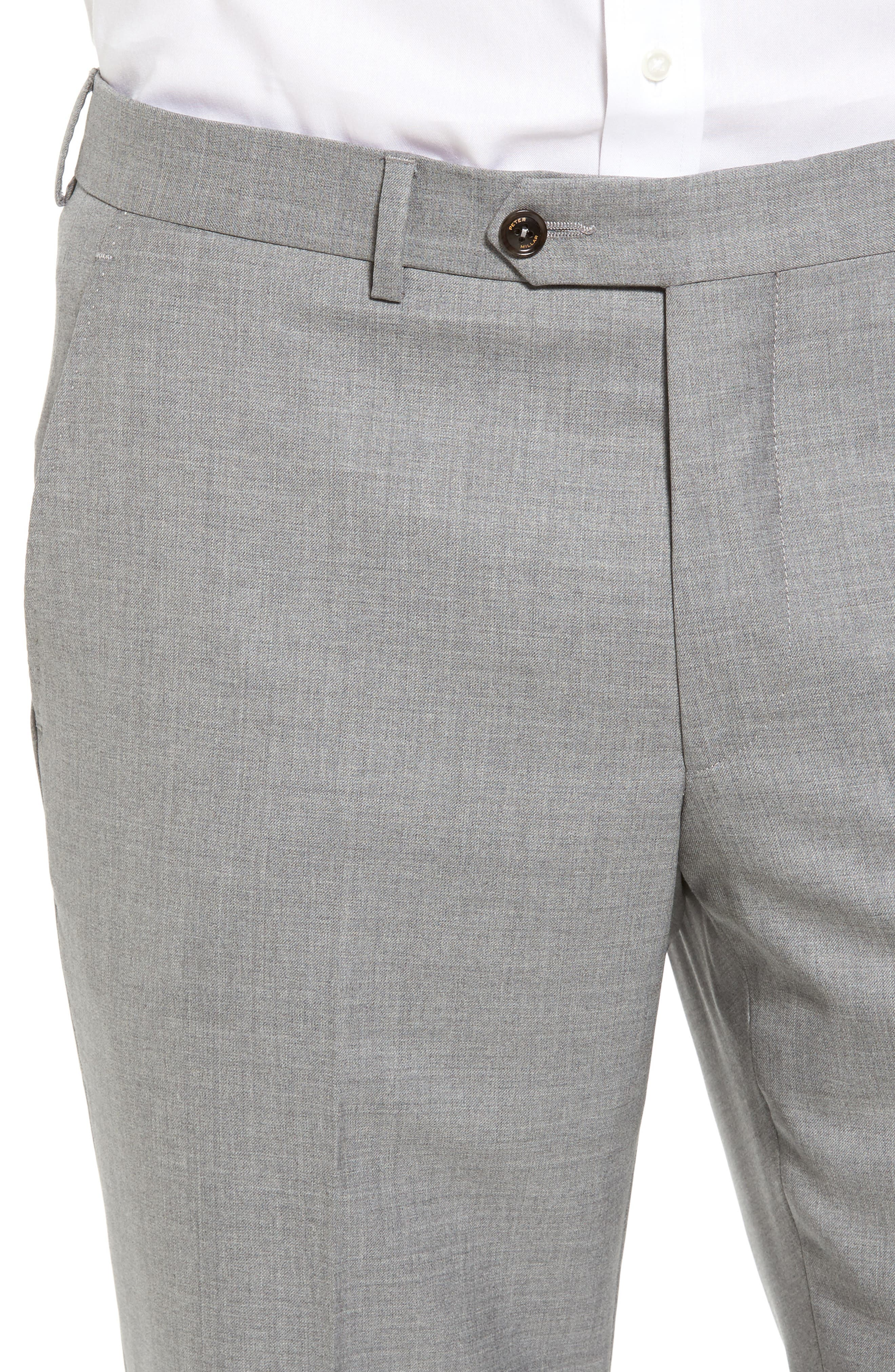 Peter Millar Multi Season Super 150s Wool Flat Front Trousers,                             Alternate thumbnail 4, color,                             047