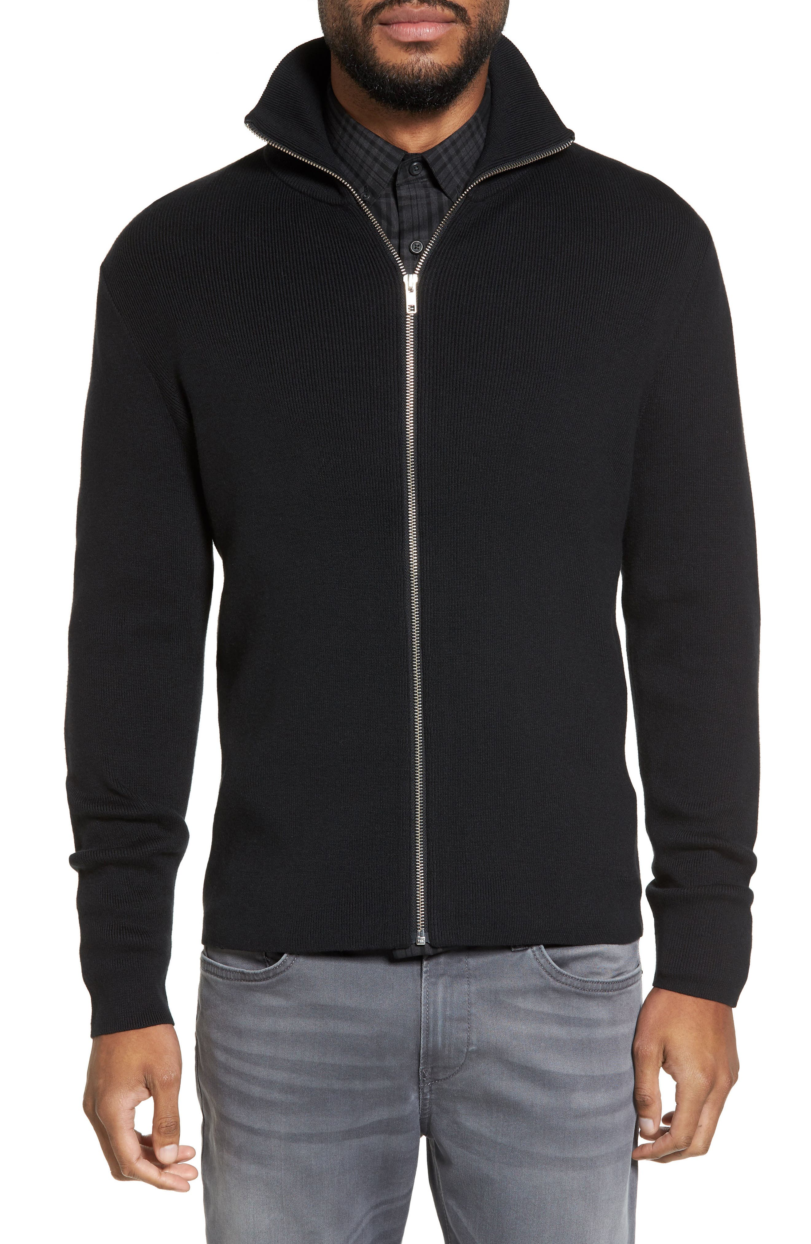 Zip Front Sweater Jacket,                             Main thumbnail 1, color,                             BLACK