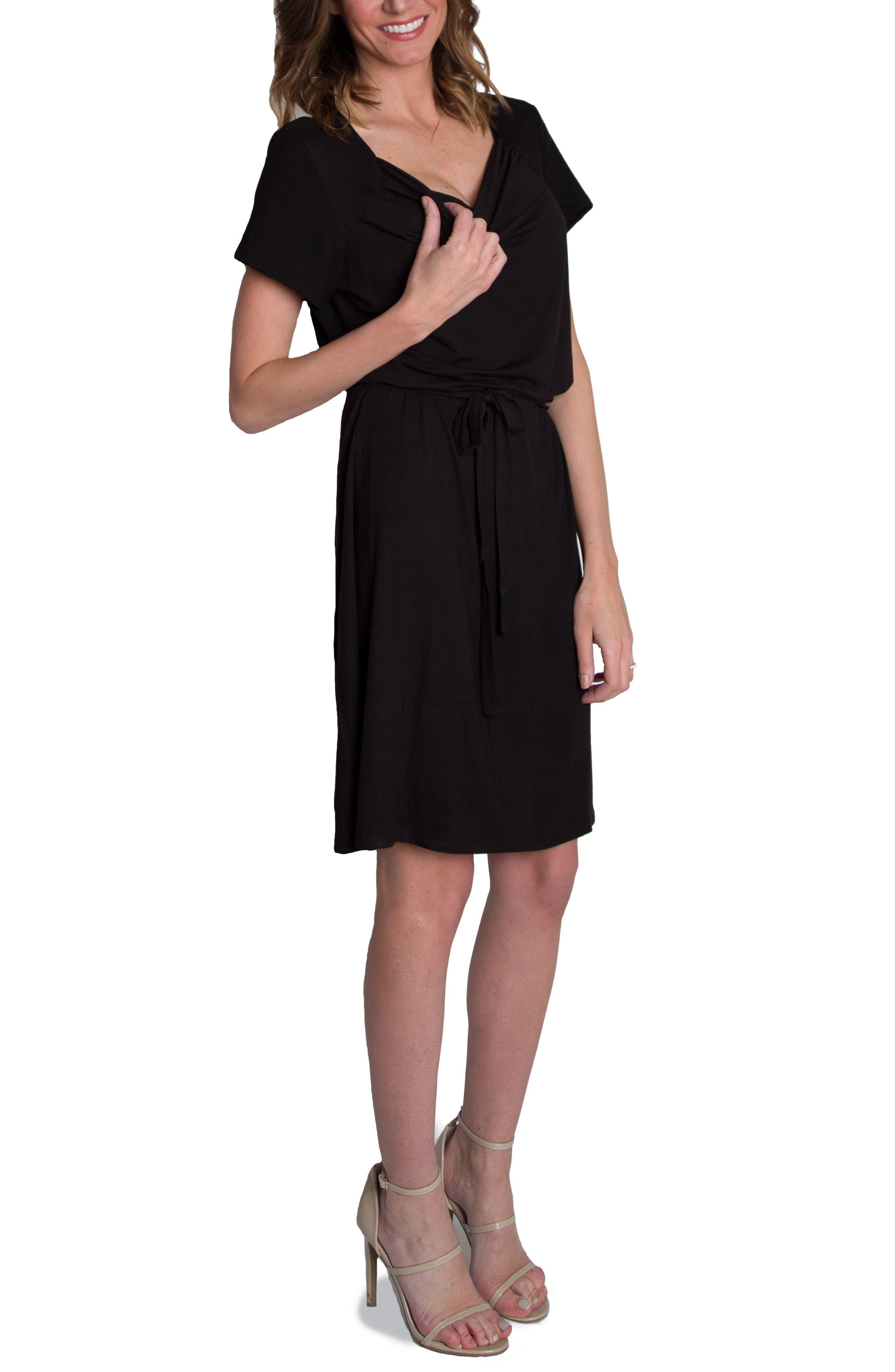 'Chic' Cowl Neck Nursing Dress,                             Alternate thumbnail 3, color,                             BLACK