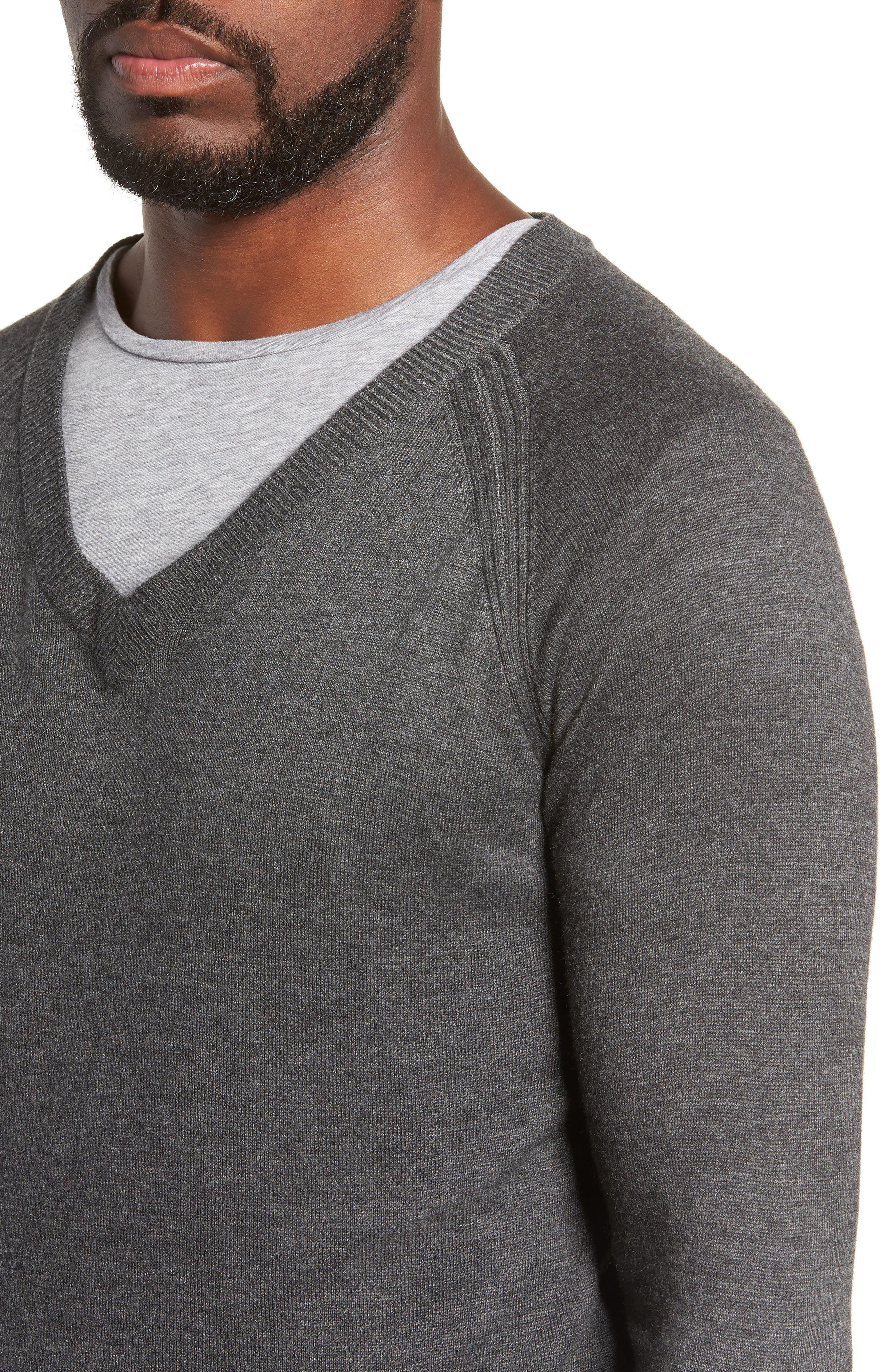 Salinas Cash V-Neck Sweater,                             Alternate thumbnail 4, color,                             CHARCOAL HEATHER