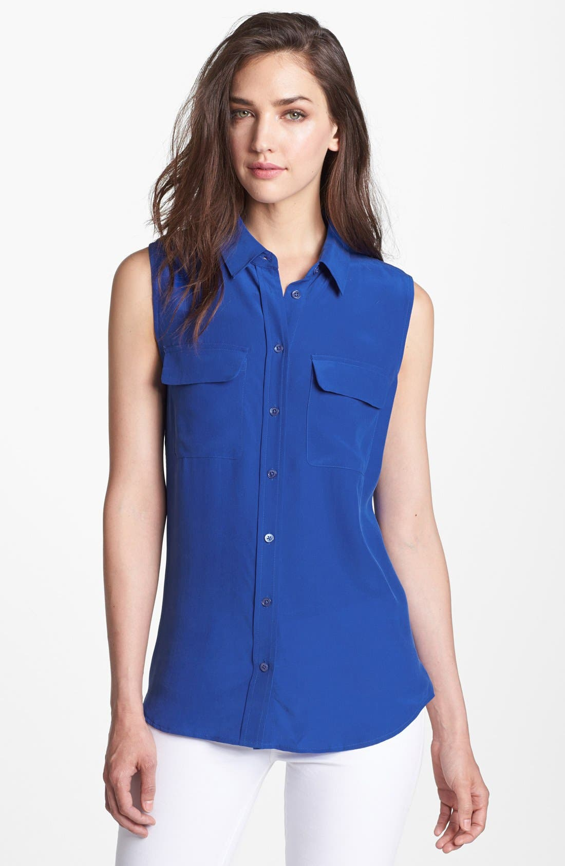 'Slim Signature' Sleeveless Silk Shirt,                             Main thumbnail 22, color,