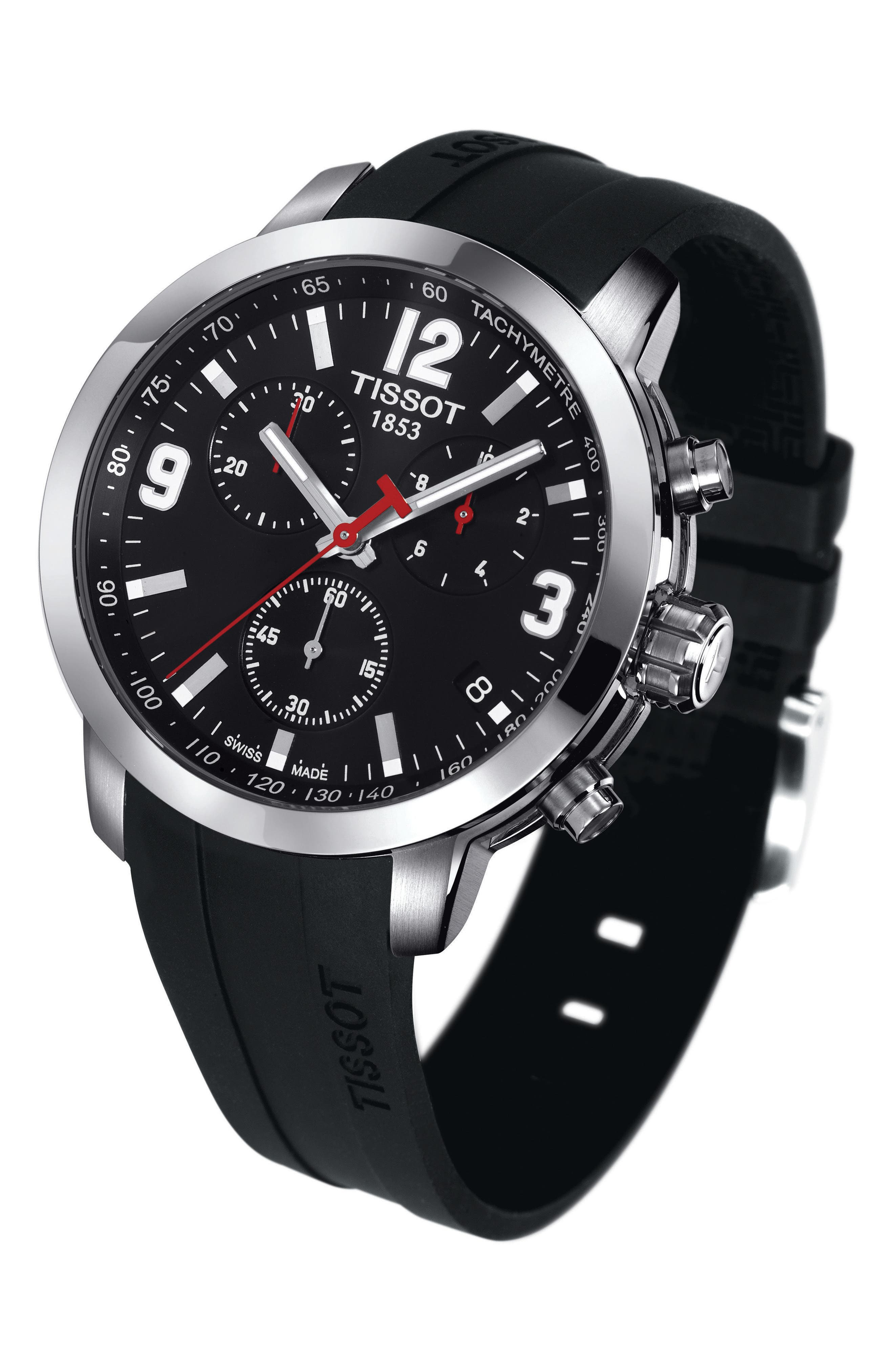 PRC200 Chronograph Silicone Strap Watch, 41mm,                             Alternate thumbnail 2, color,                             BLACK/ SILVER