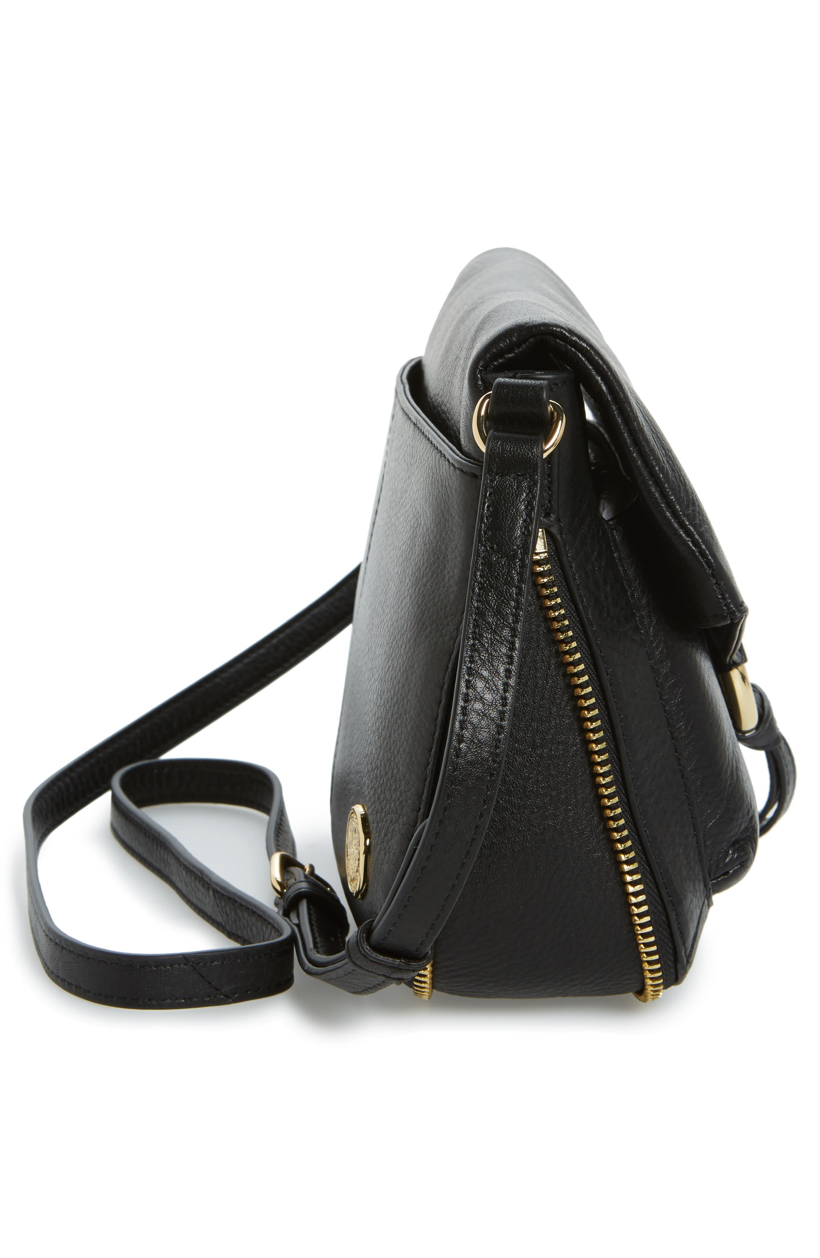 Adina Leather Crossbody Bag,                             Alternate thumbnail 5, color,                             001