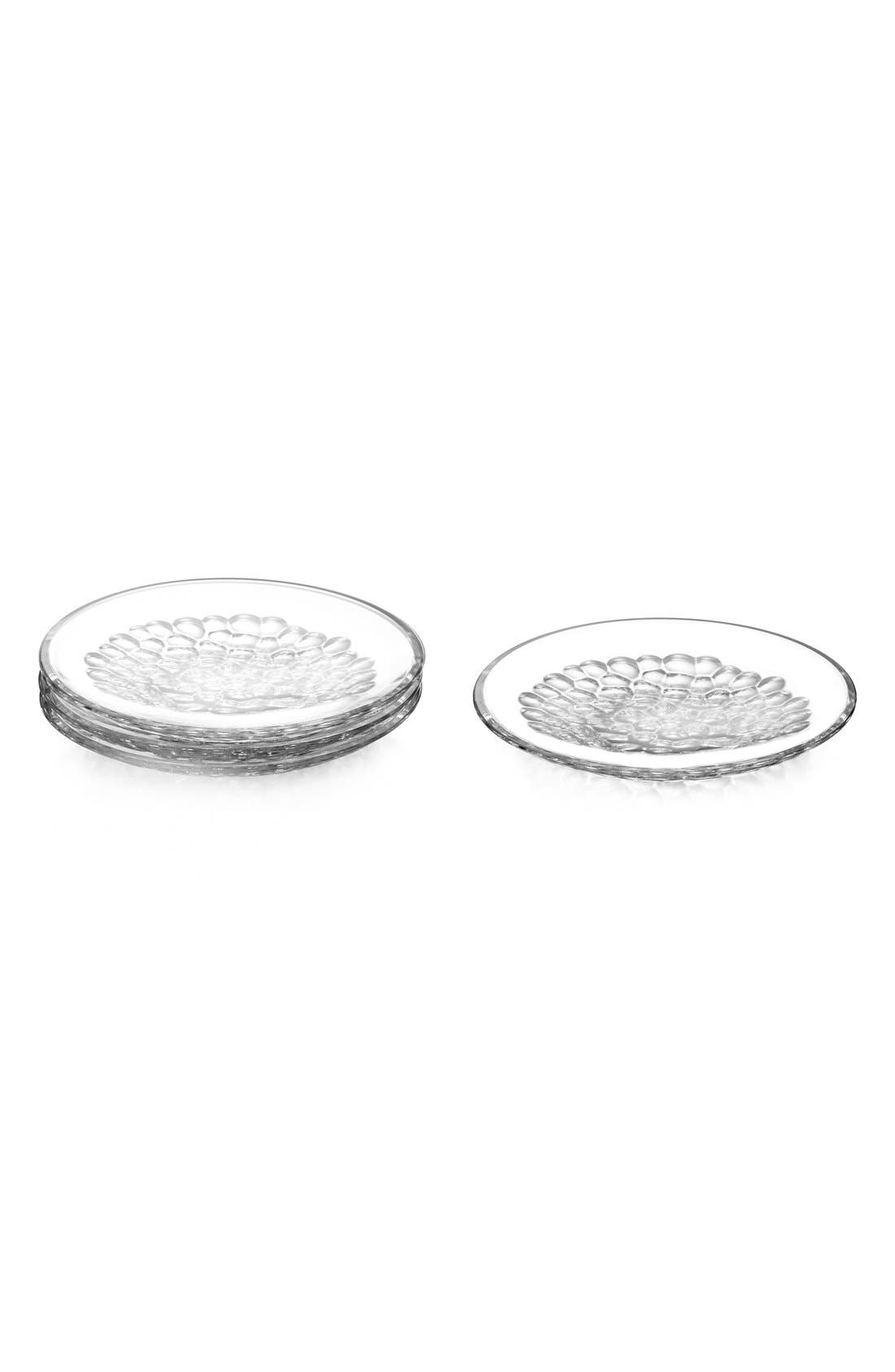 'Pearl' Lead Crystal Dessert Plates,                         Main,                         color, WHITE