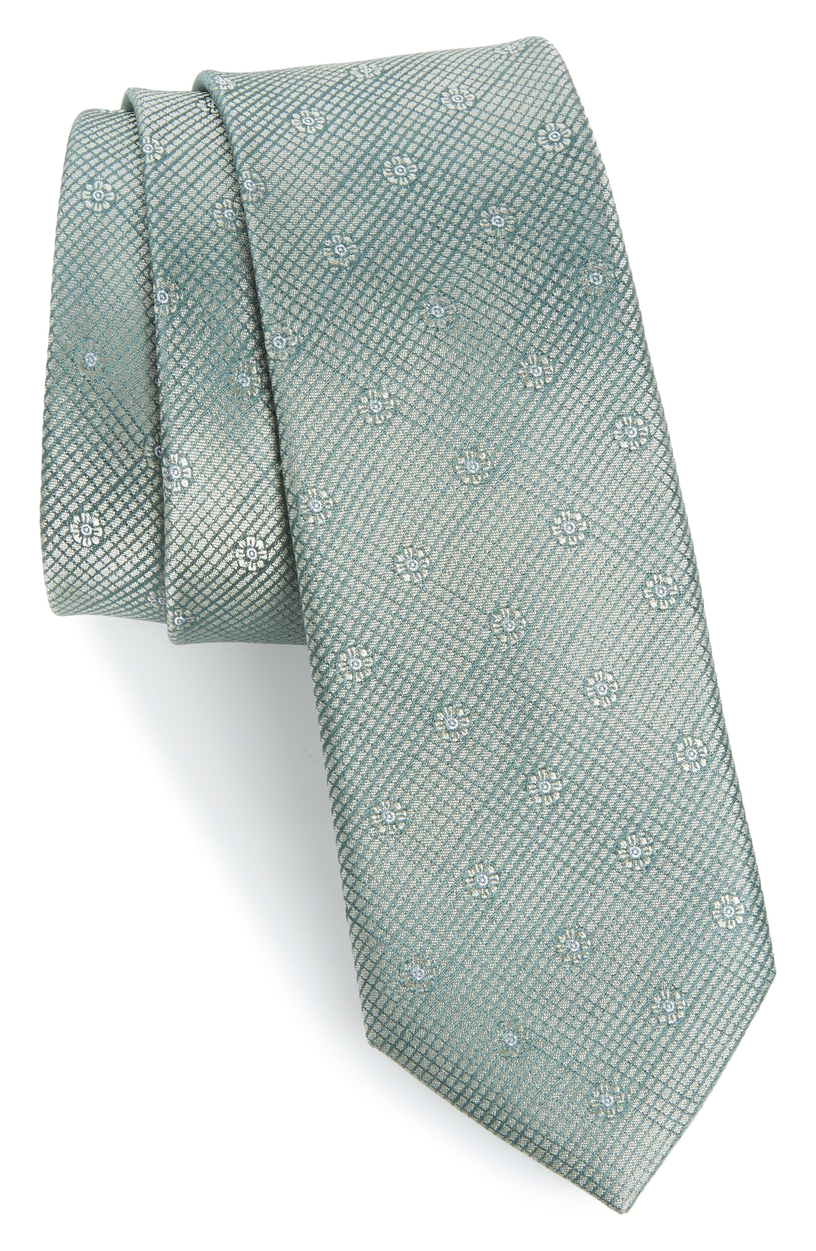 Fleur Medallion Silk Skinny Tie,                             Main thumbnail 1, color,                             300