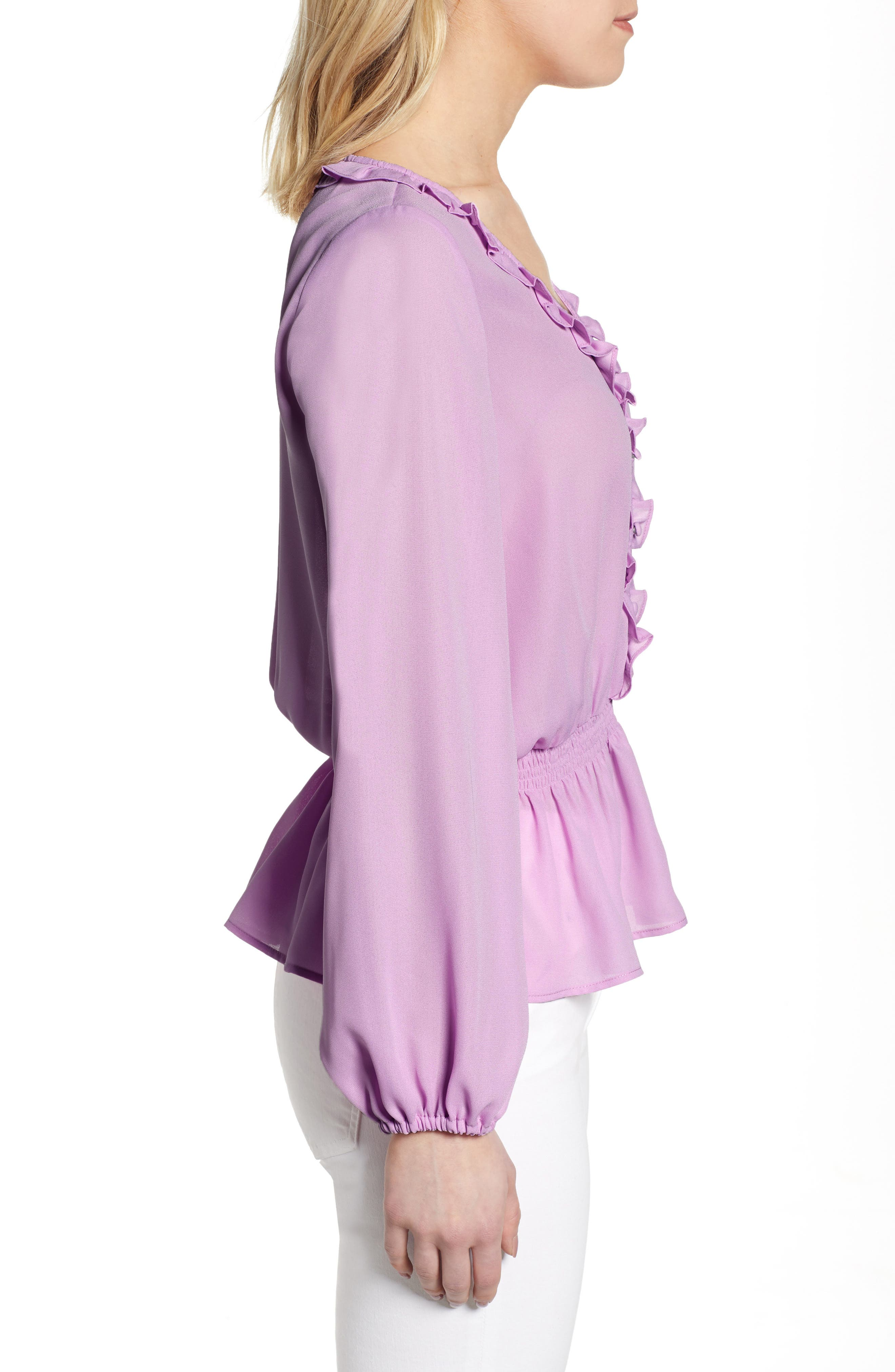 GIBSON,                             x International Women's Day Roselyn Ruffle Detail Smock Waist Blouse,                             Alternate thumbnail 3, color,                             LAVENDER LILY