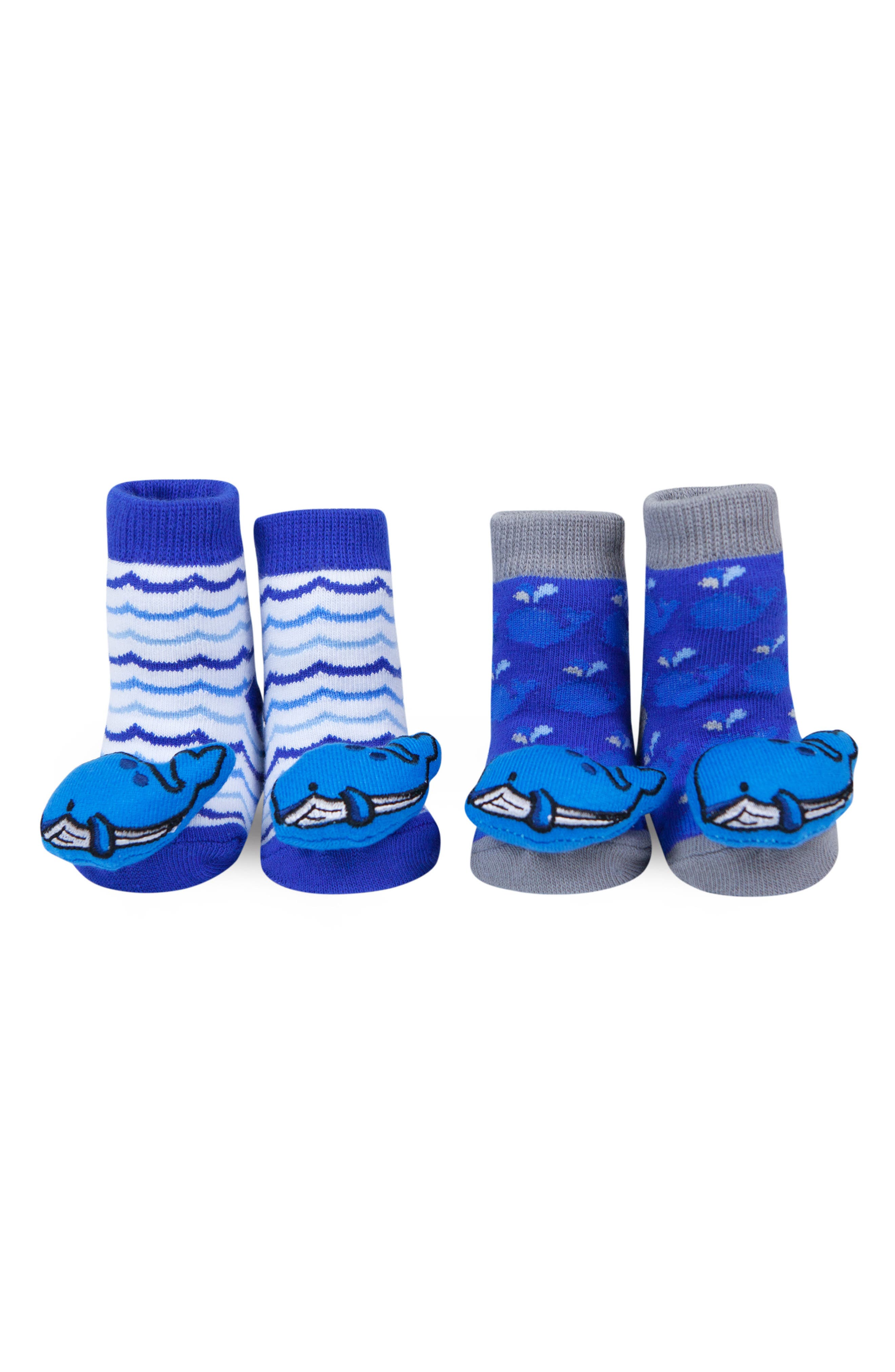 & Friends Whales 2-Pack Rattle Socks,                             Main thumbnail 1, color,