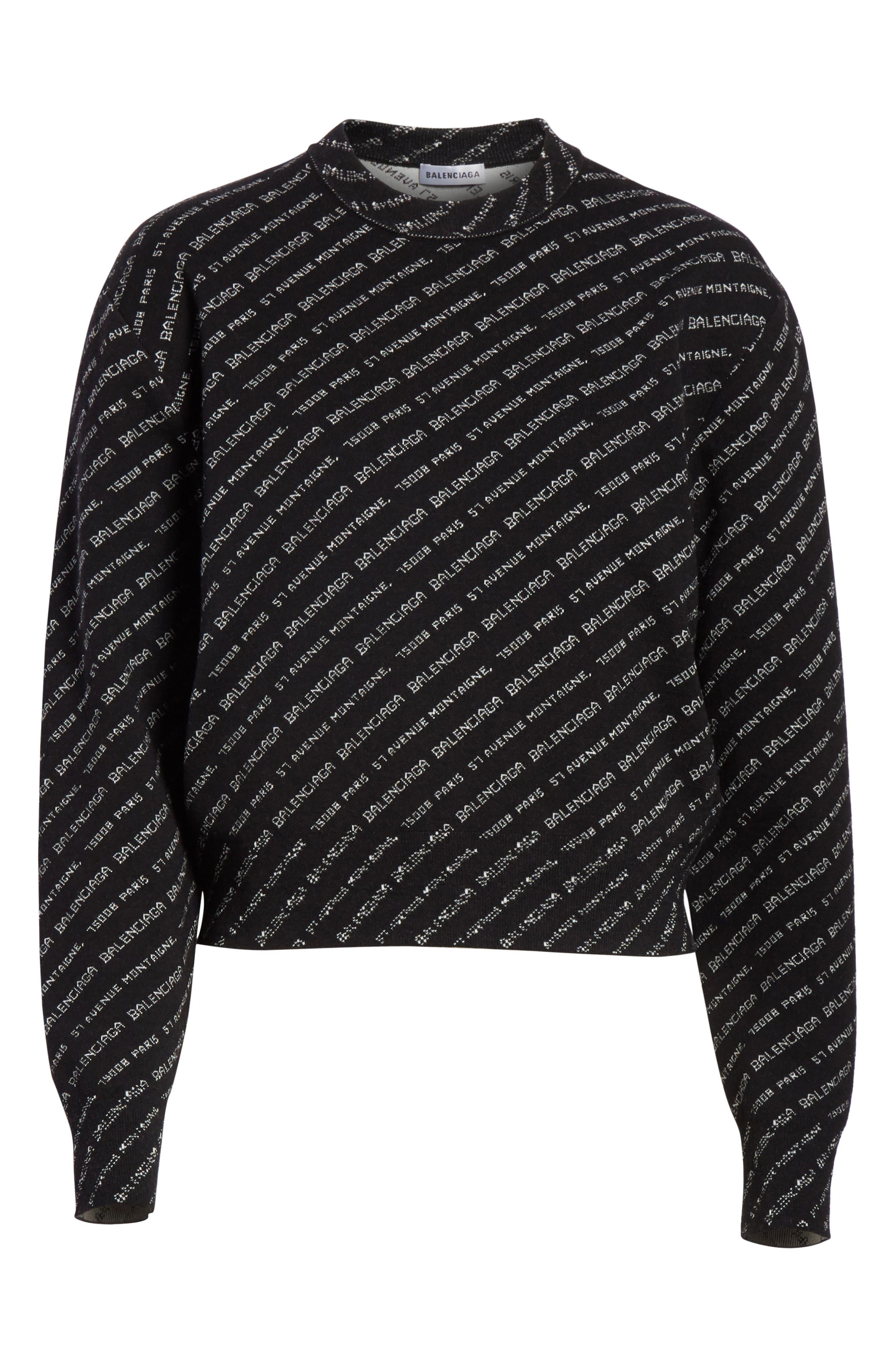 BALENCIAGA,                             Logo Knit Sweater,                             Alternate thumbnail 6, color,                             001