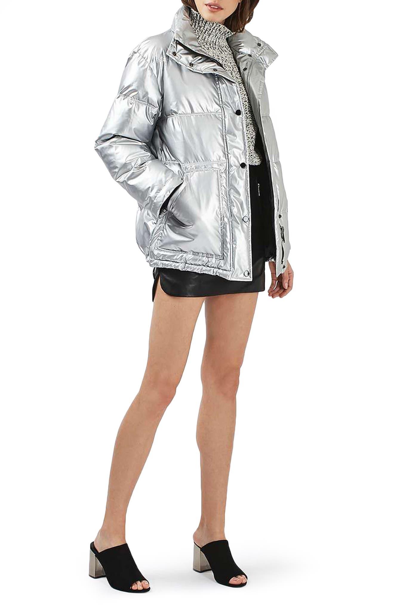 Bianca Metallic Puffer Jacket,                             Alternate thumbnail 5, color,                             040