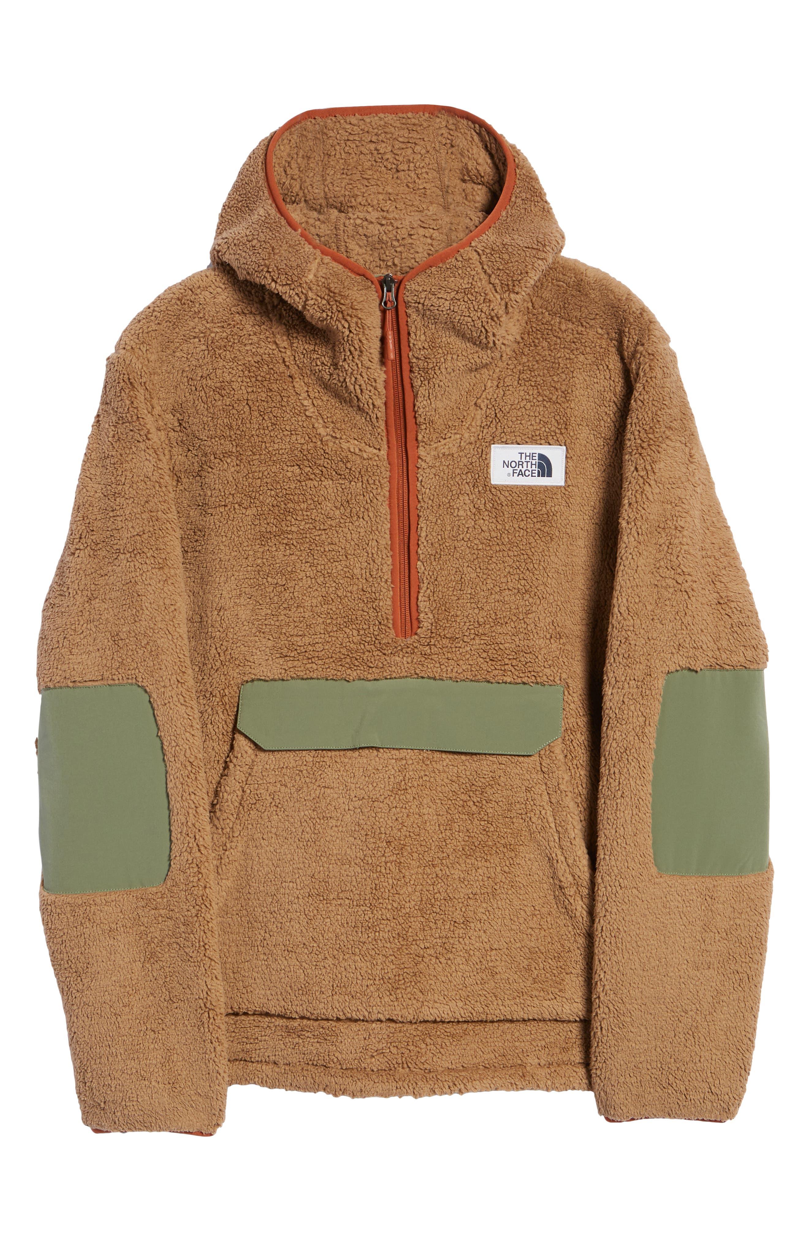 THE NORTH FACE,                             Campshire Anorak Fleece Jacket,                             Alternate thumbnail 7, color,                             CARGO KHAKI/ FOUR LEAF CLOVER