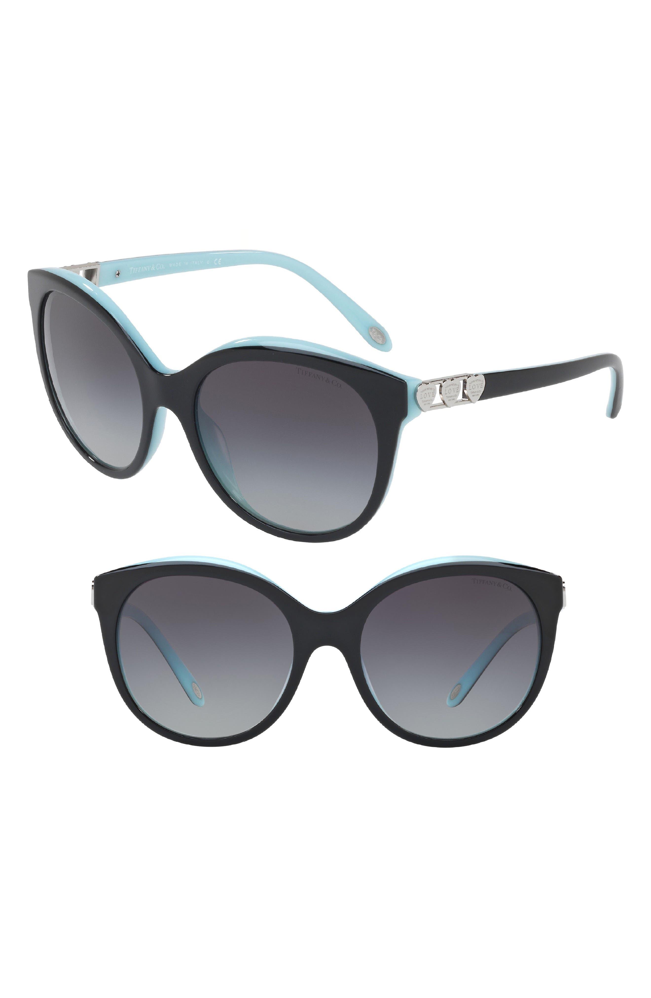 Tiffany 56mm Sunglasses,                         Main,                         color, BLACK/ BLUE GRADIENT