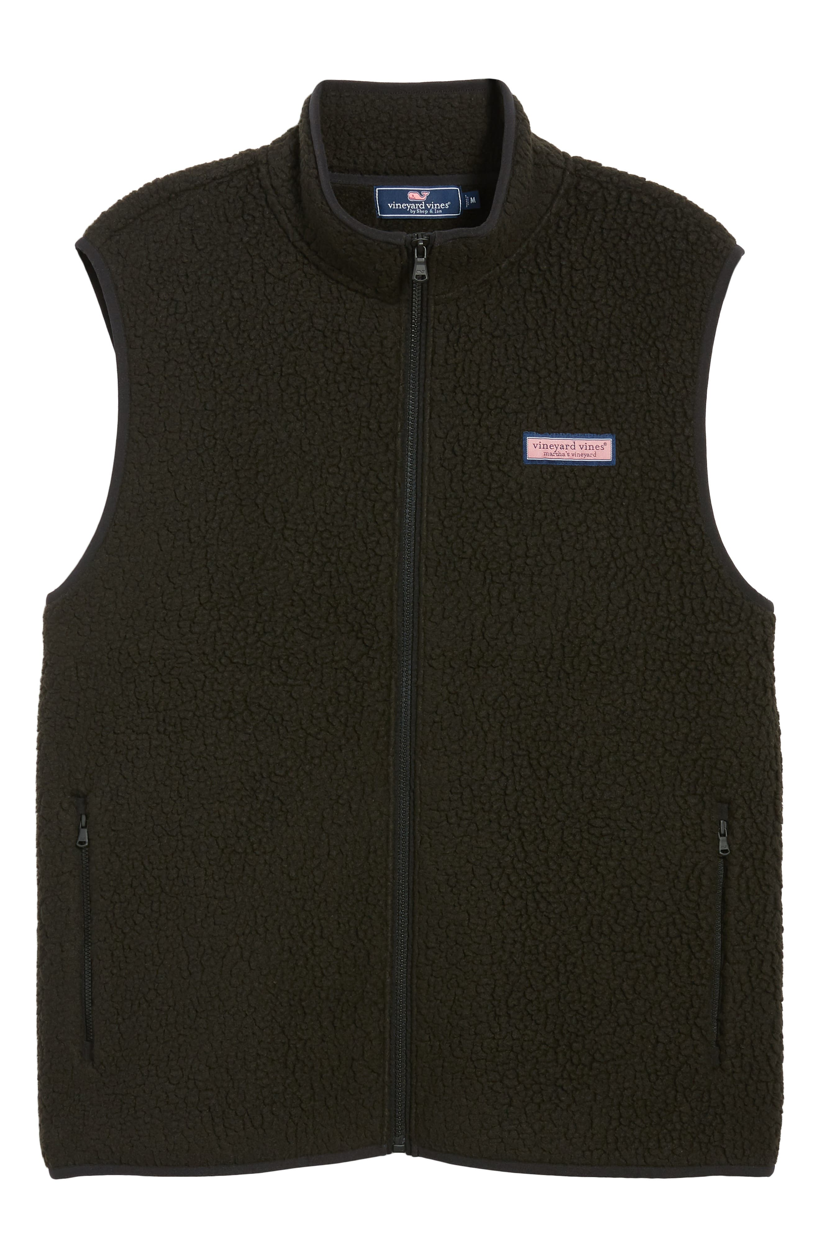 Harbor Regular Fit Fleece Vest,                             Alternate thumbnail 6, color,                             JET BLACK