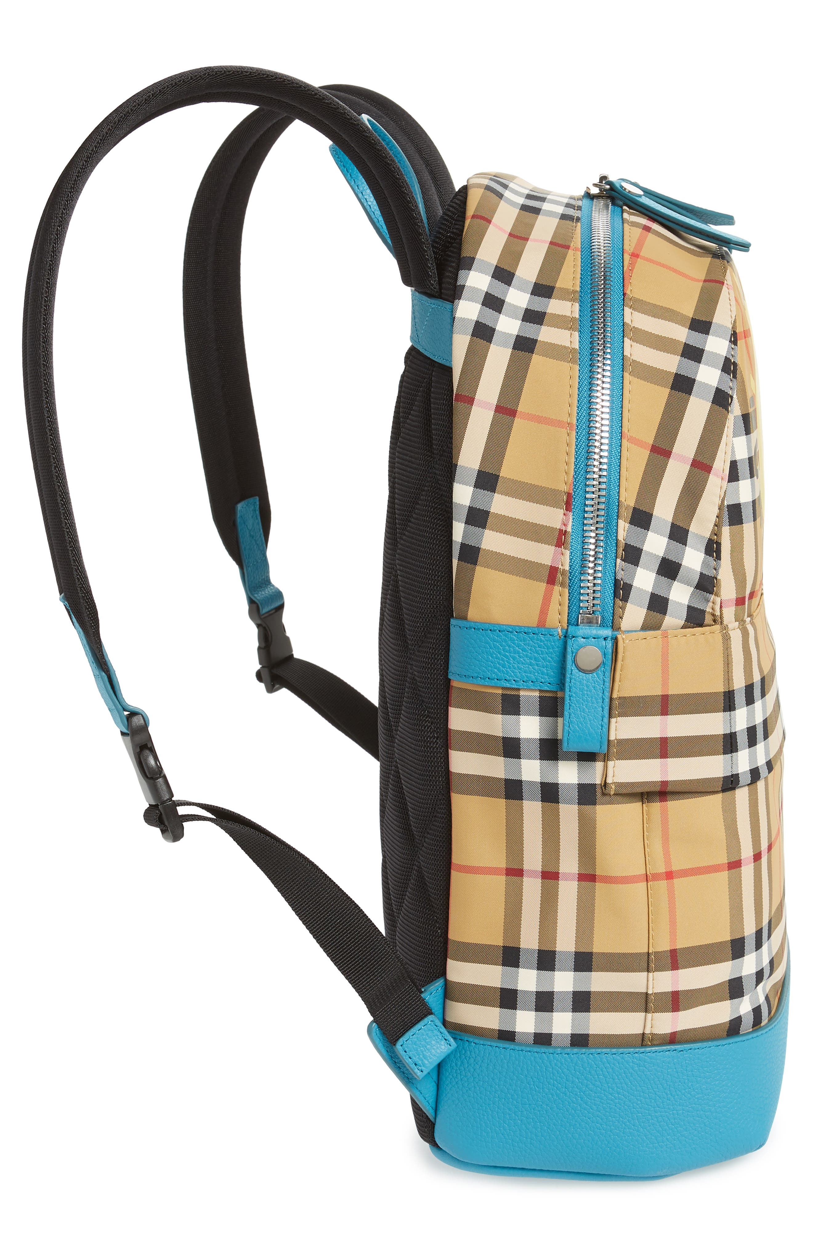 BURBERRY,                             Nico Sun Check Nylon Backpack,                             Alternate thumbnail 5, color,                             ANTIQUE YELLW IP CHK