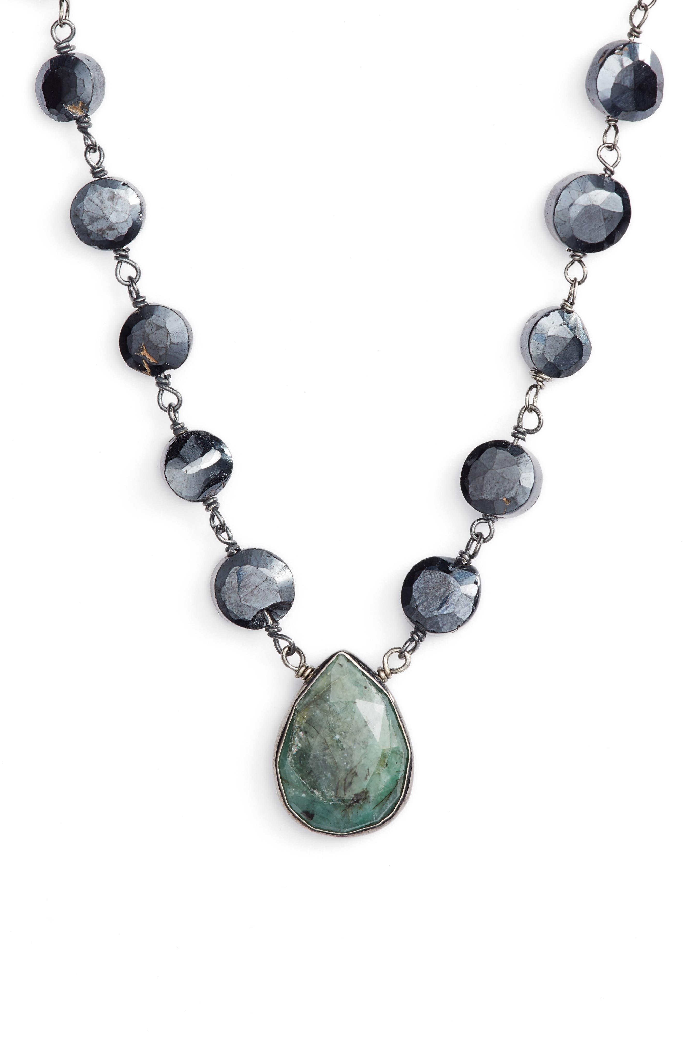 Ara Collar Necklace,                         Main,                         color, MYSTIC BLACK SPINEL/ EMERALD