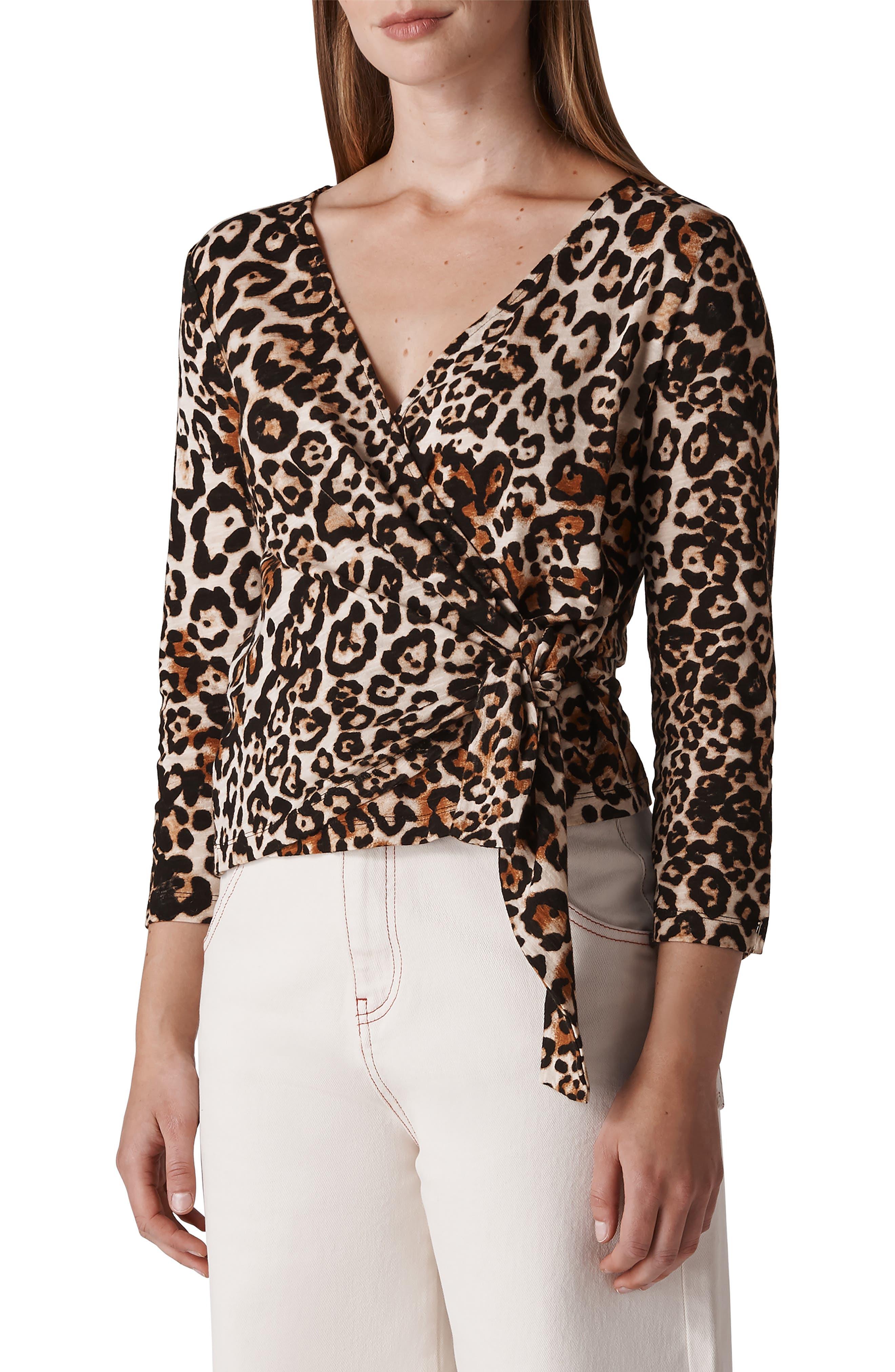 WHISTLES Leopard Print Wrap Top, Main, color, 200