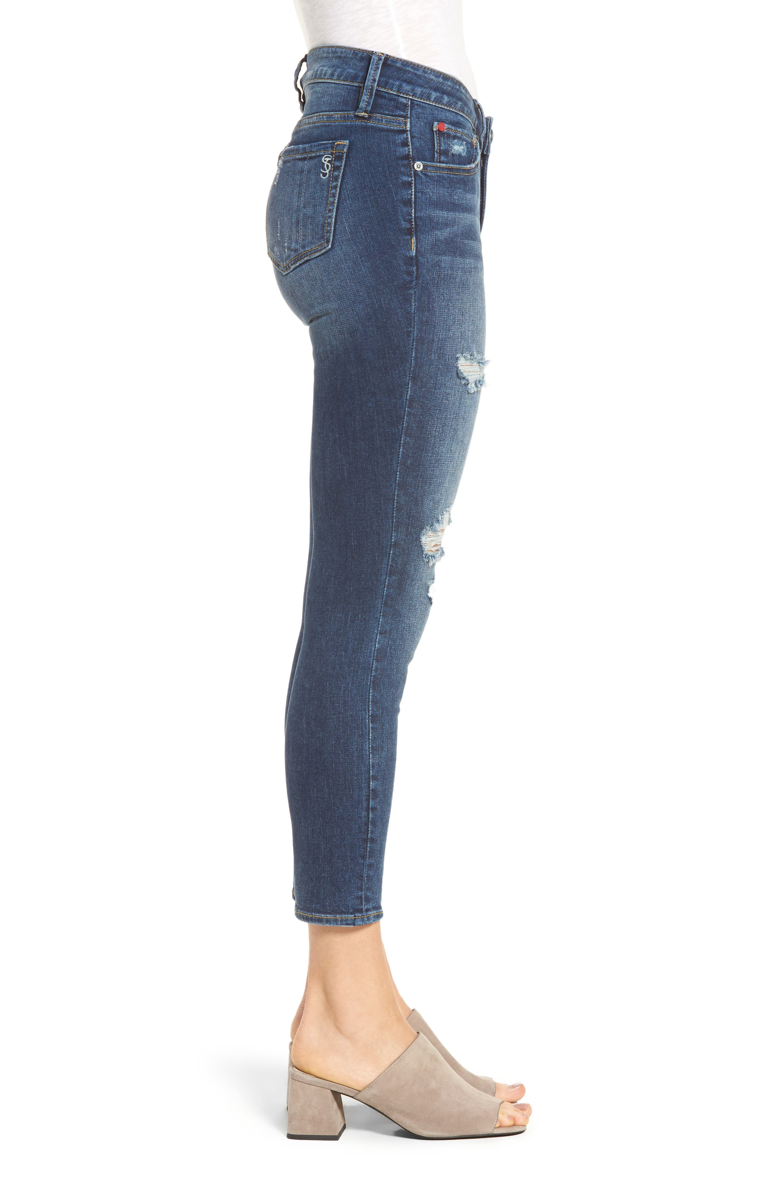 Distressed Ankle Skinny Jeans,                             Alternate thumbnail 3, color,                             481