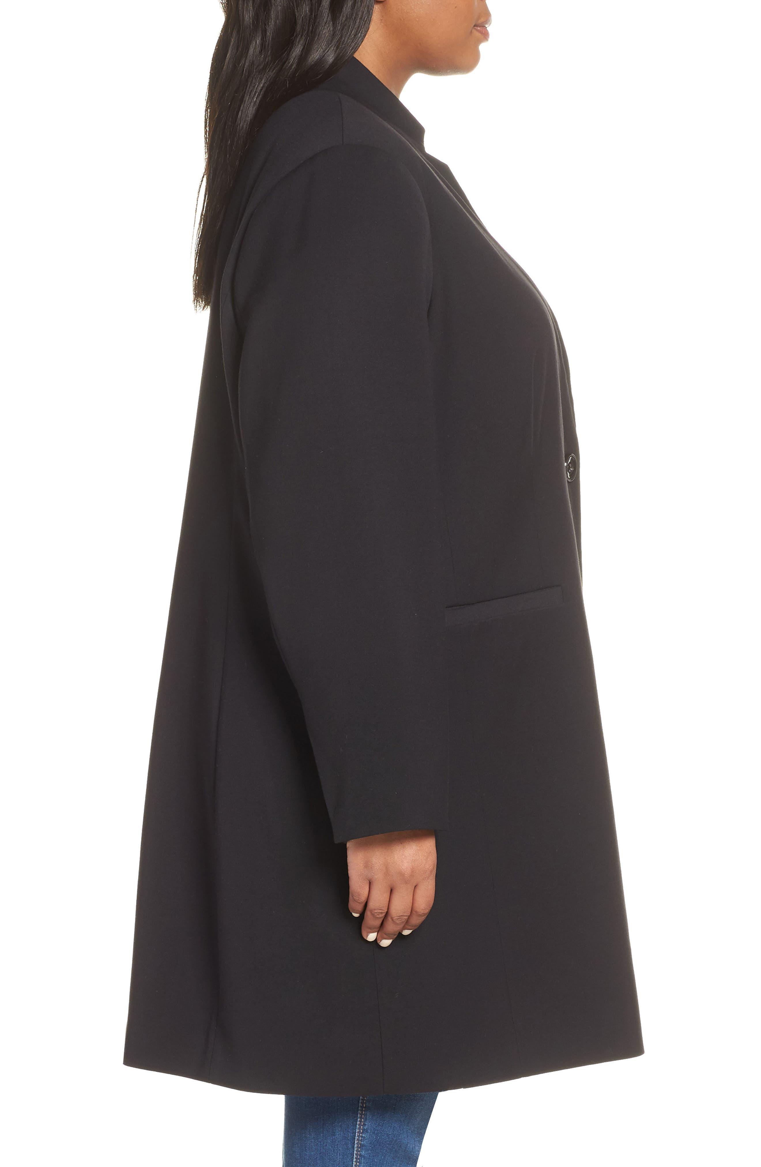 KENNETH COLE NEW YORK,                             Inverted Collar Ponte Jacket,                             Alternate thumbnail 3, color,                             BLACK