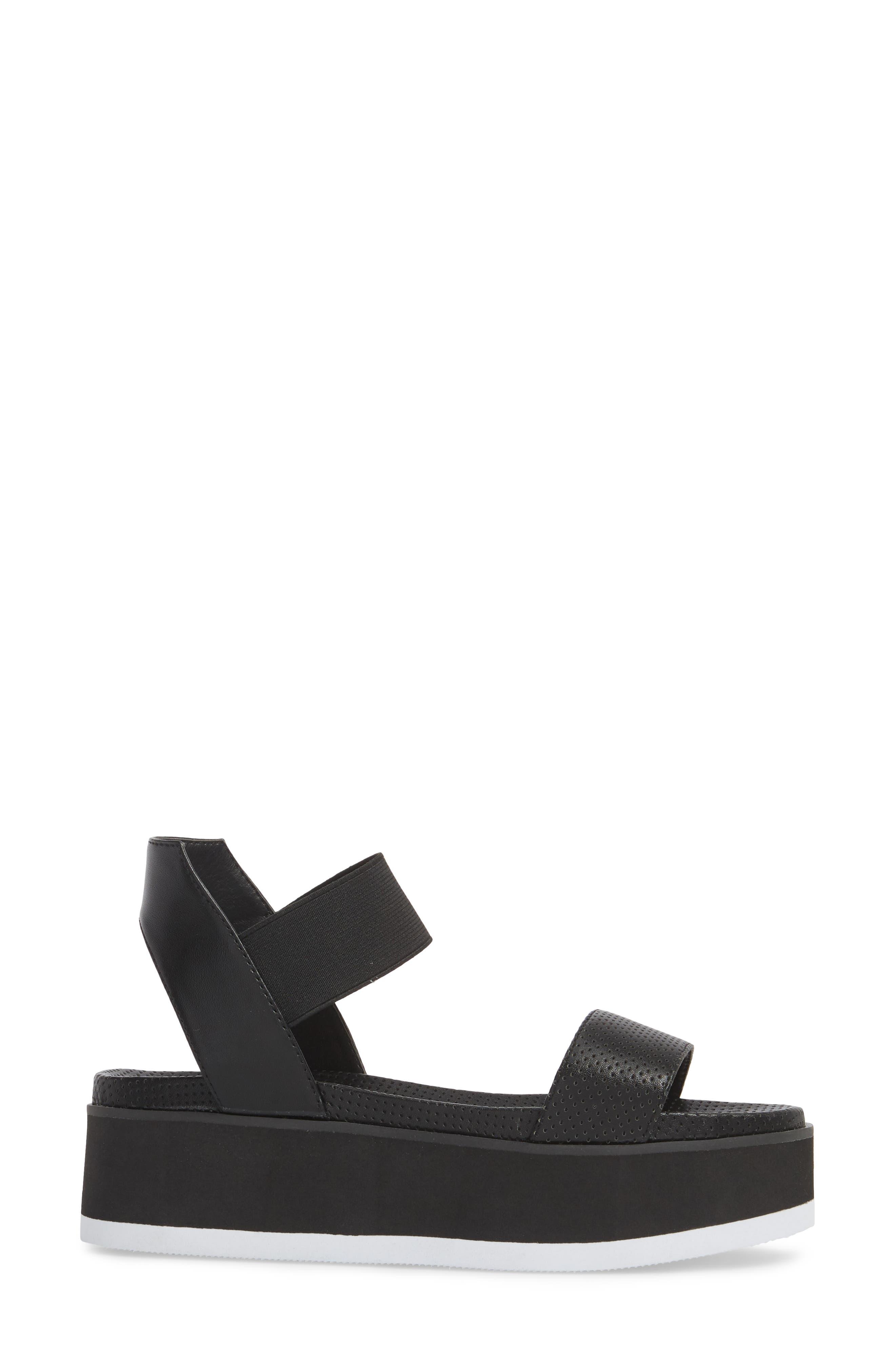 Josie Perforated Platform Sandal,                             Alternate thumbnail 3, color,                             BLACK