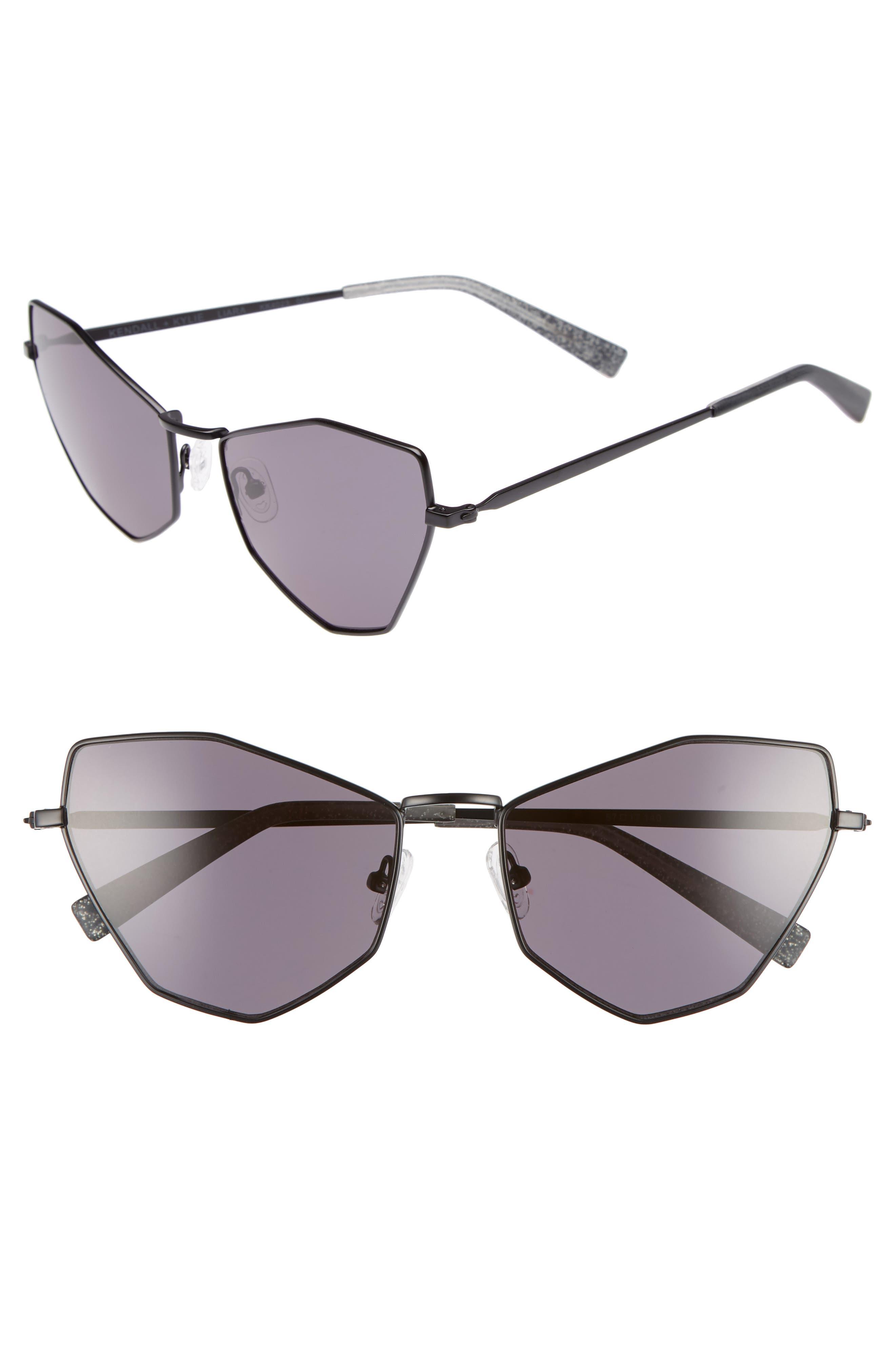 Liara 57mm Cat Eye Sunglasses,                         Main,                         color, BLACK METAL/ SOLID SMOKE