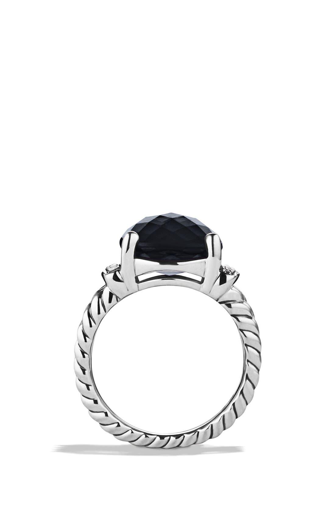 'Wheaton' Ring with Semiprecious Stone & Diamonds,                             Alternate thumbnail 4, color,                             BLACK ONYX